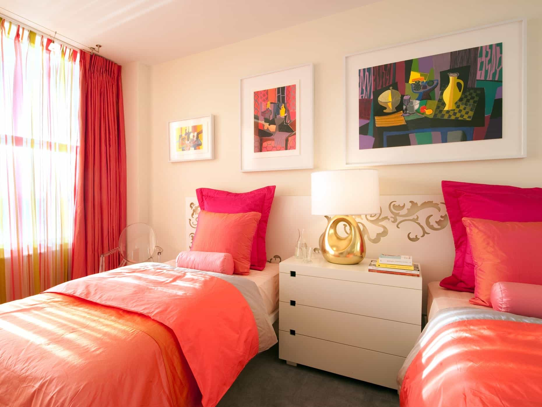 Pink Bedroom With Twin Beds And Custom Shared Headboard (Image 22 of 27)