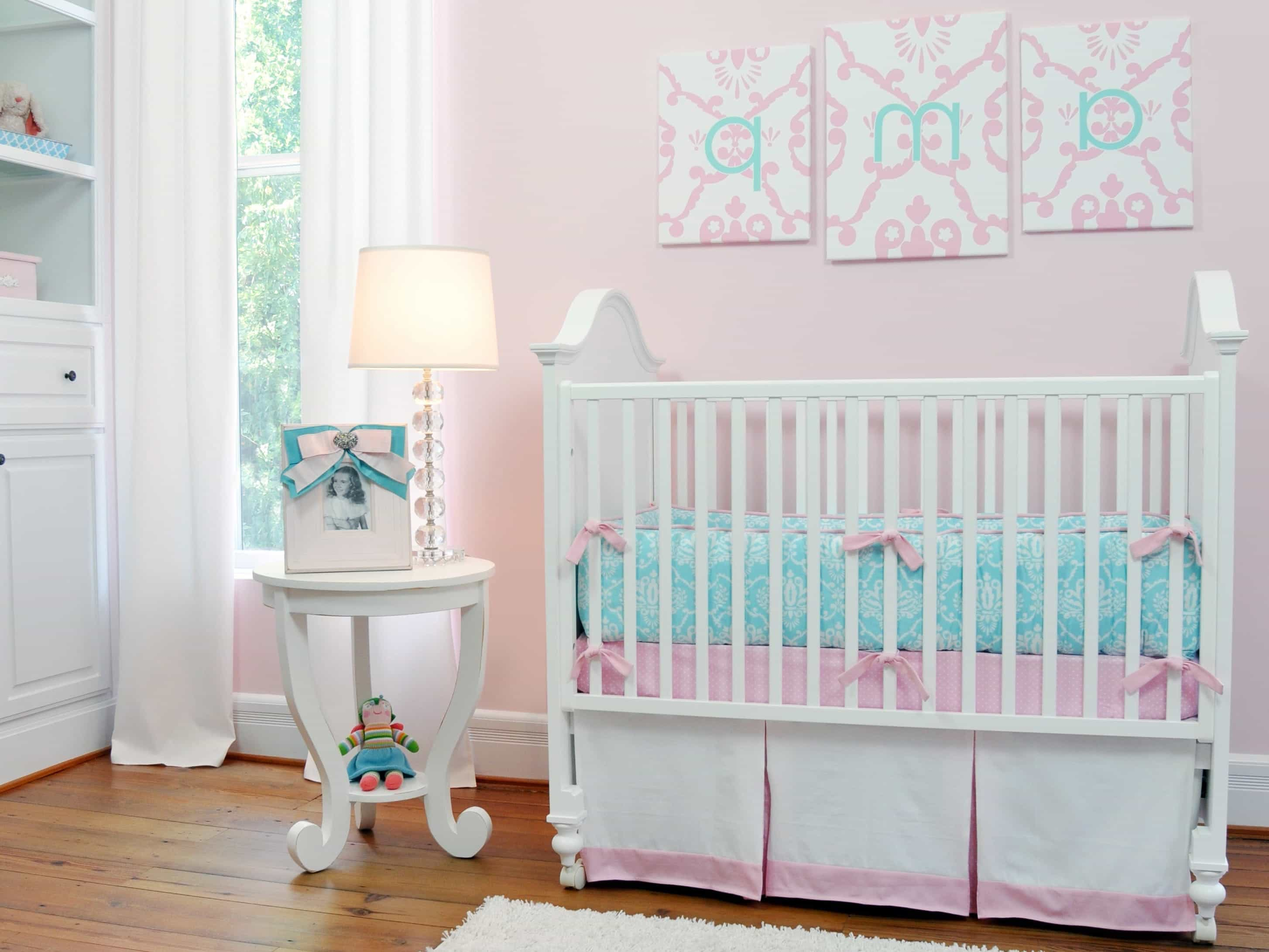 Pink Girl's Nursery With White Metal Crib (Image 28 of 33)