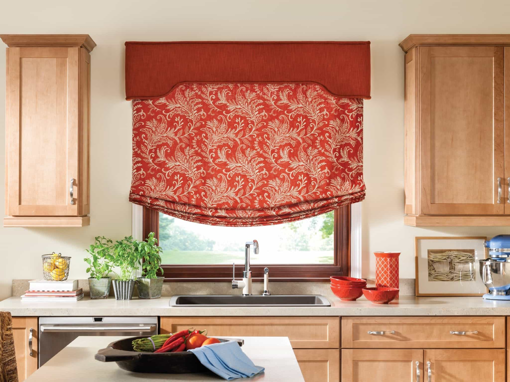 Red Roman Shade Curtain In Kitchen Window (Image 6 of 11)