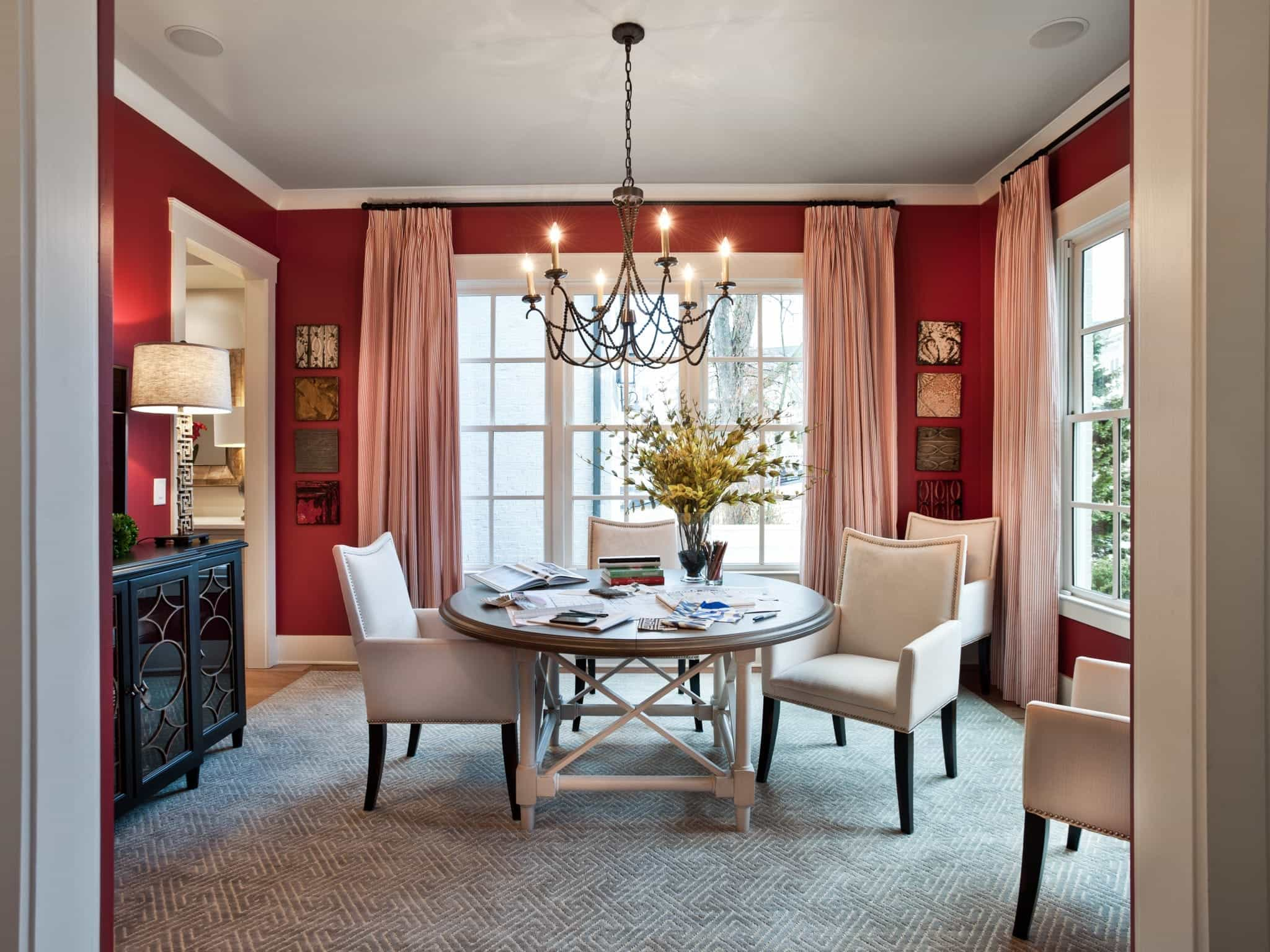 Red Romantic Dining Room Interior With White Upholstered Chairs (View 6 of 21)