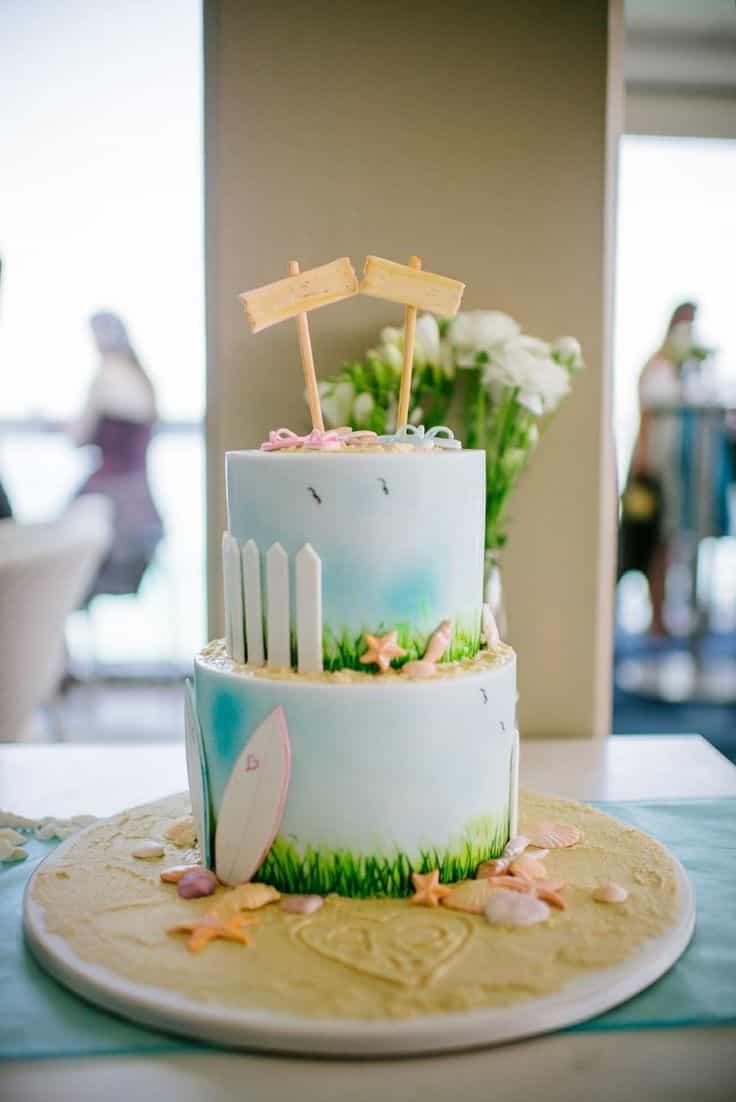Romantic Blue Beach Seaside Wedding Cake (Image 7 of 13)