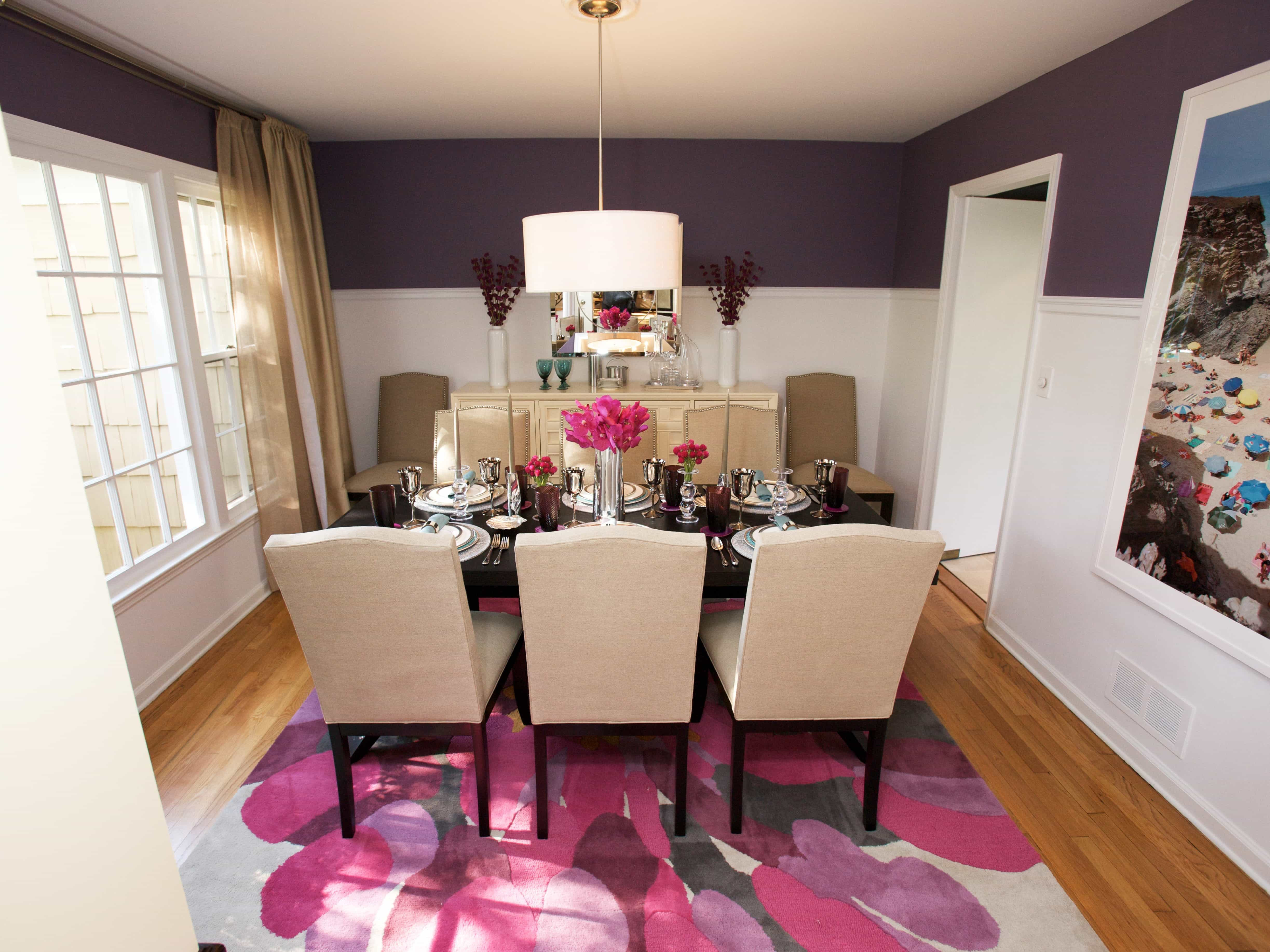 Romantic Decoration For Small Purple Dining Room Interior (View 17 of 21)