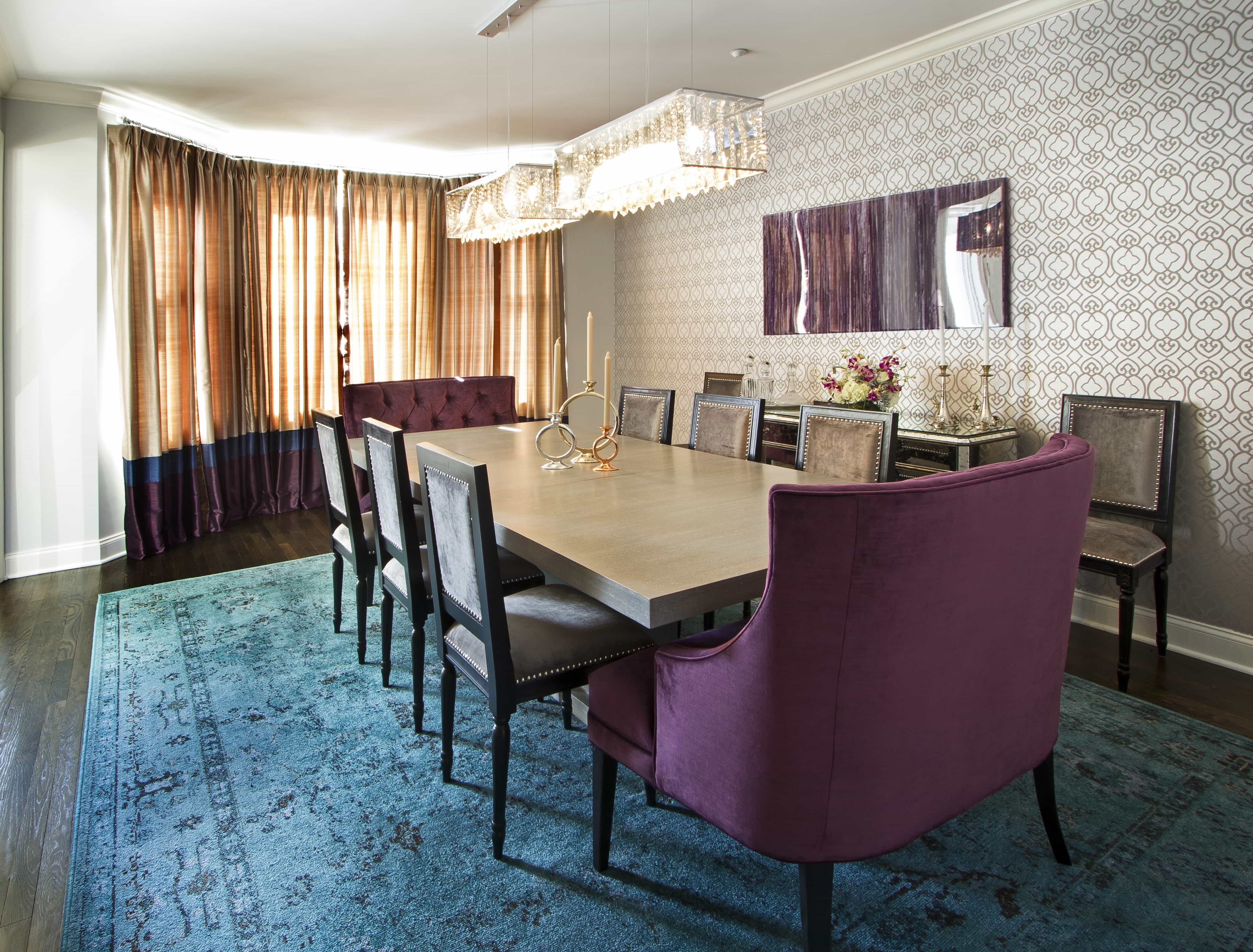 Romantic Dining Room With Bold Turquoise Rug And Purple Tufted End Chairs (View 13 of 21)