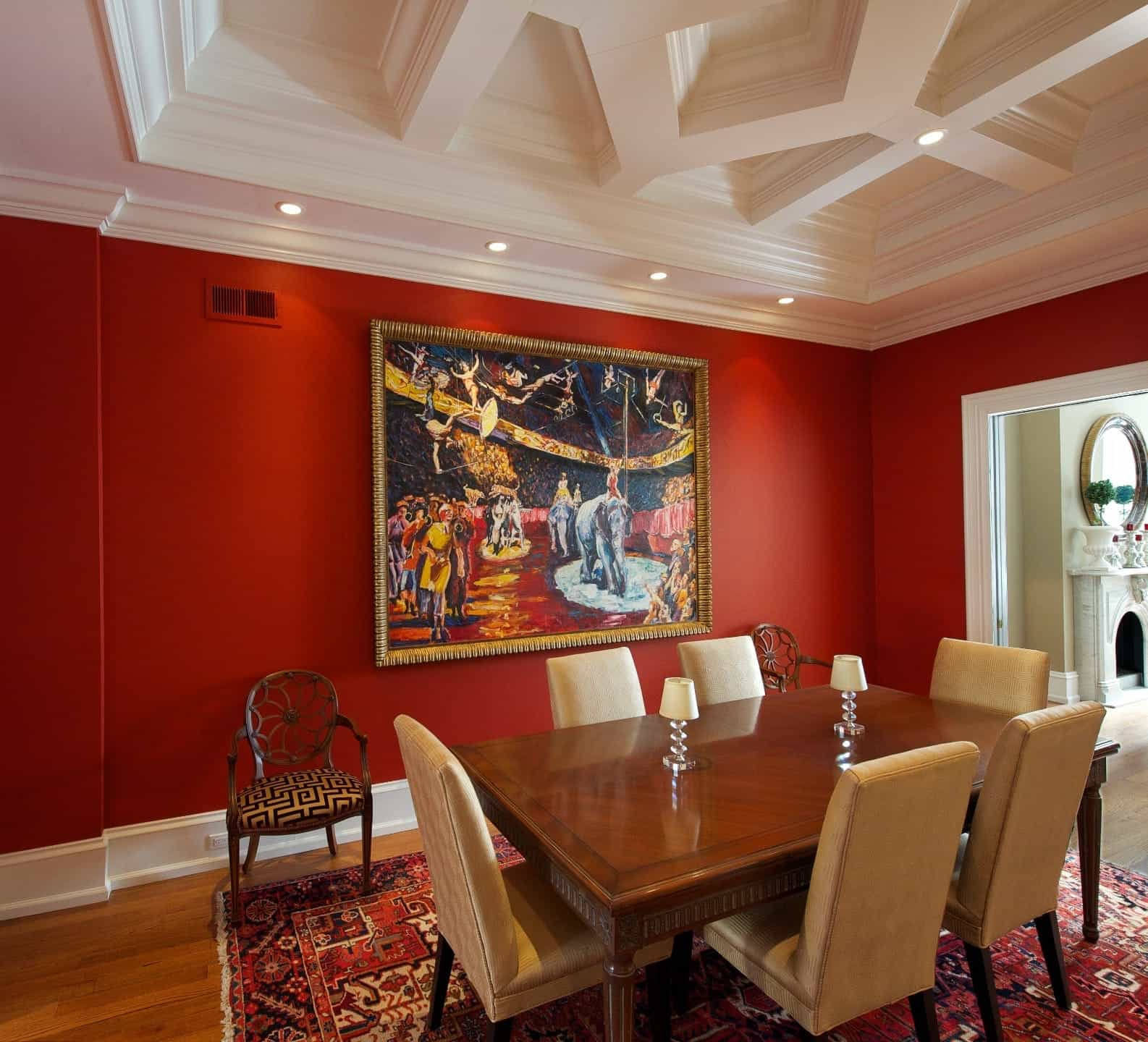 Romantic Dining Room In Bold Red Theme With Tray Ceiling And Colorful Artwork (View 7 of 21)
