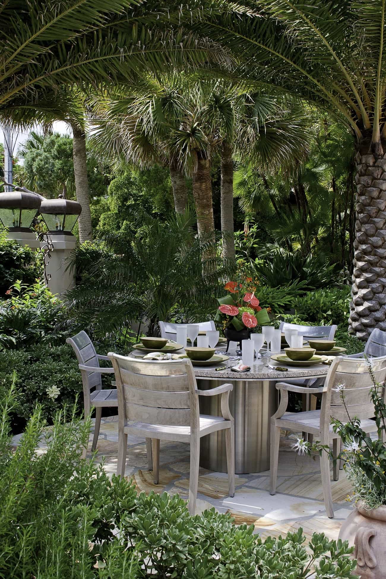 Romantic Outdoor Dining Table Under Palm Trees (Image 6 of 8)