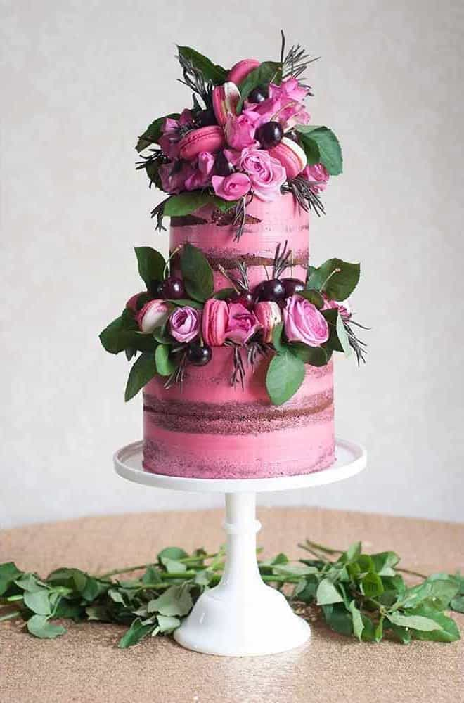 Romantic Pink Chocolate Wedding Cake (Image 14 of 30)