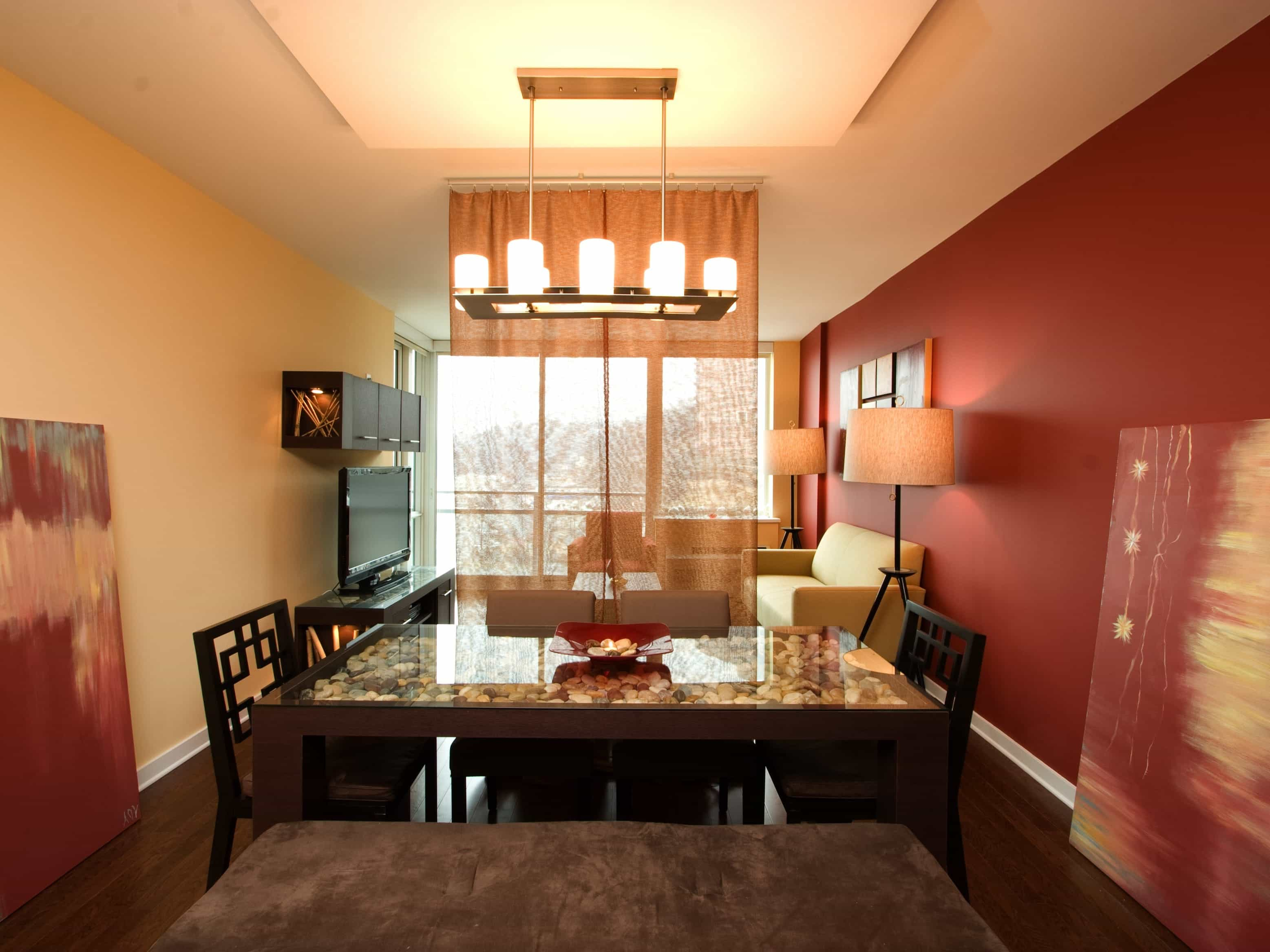 Romantic Red Contemporary Dining Room With Candle Chandelier For Apartment Interior (Photo 2 of 21)