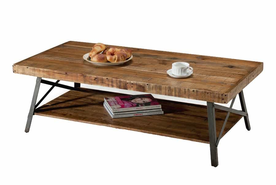 Rustic Wood Coffee Table With Extra Frosted Lower Shelf Storage Under The Table Top (Image 28 of 30)