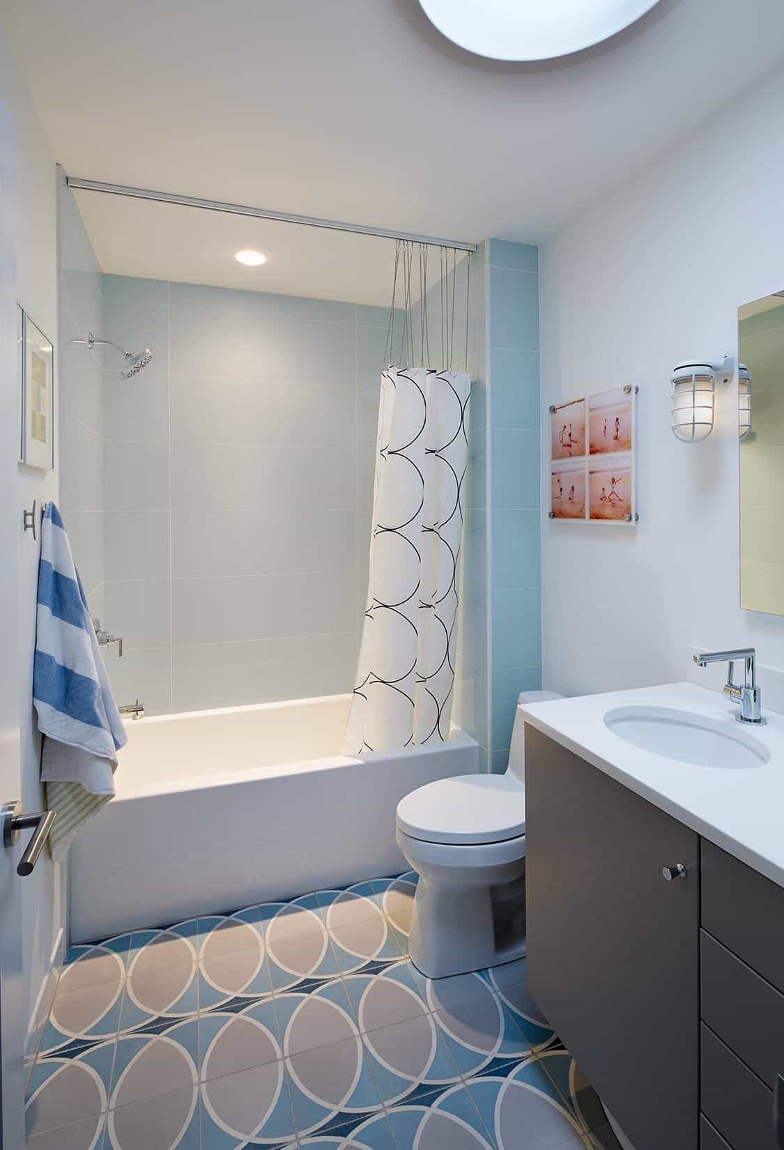 Serene Bathroom With Circular Pattern Tile Floor (Image 16 of 20)
