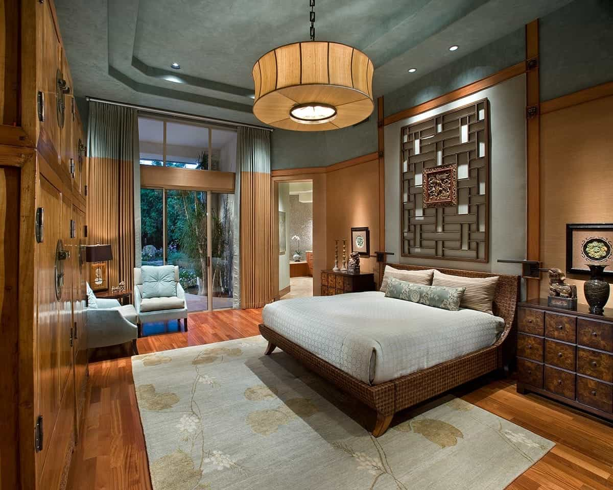 Serene Deluxe Asian Bedroom Boasts Sky Blue Accents (Image 29 of 32)