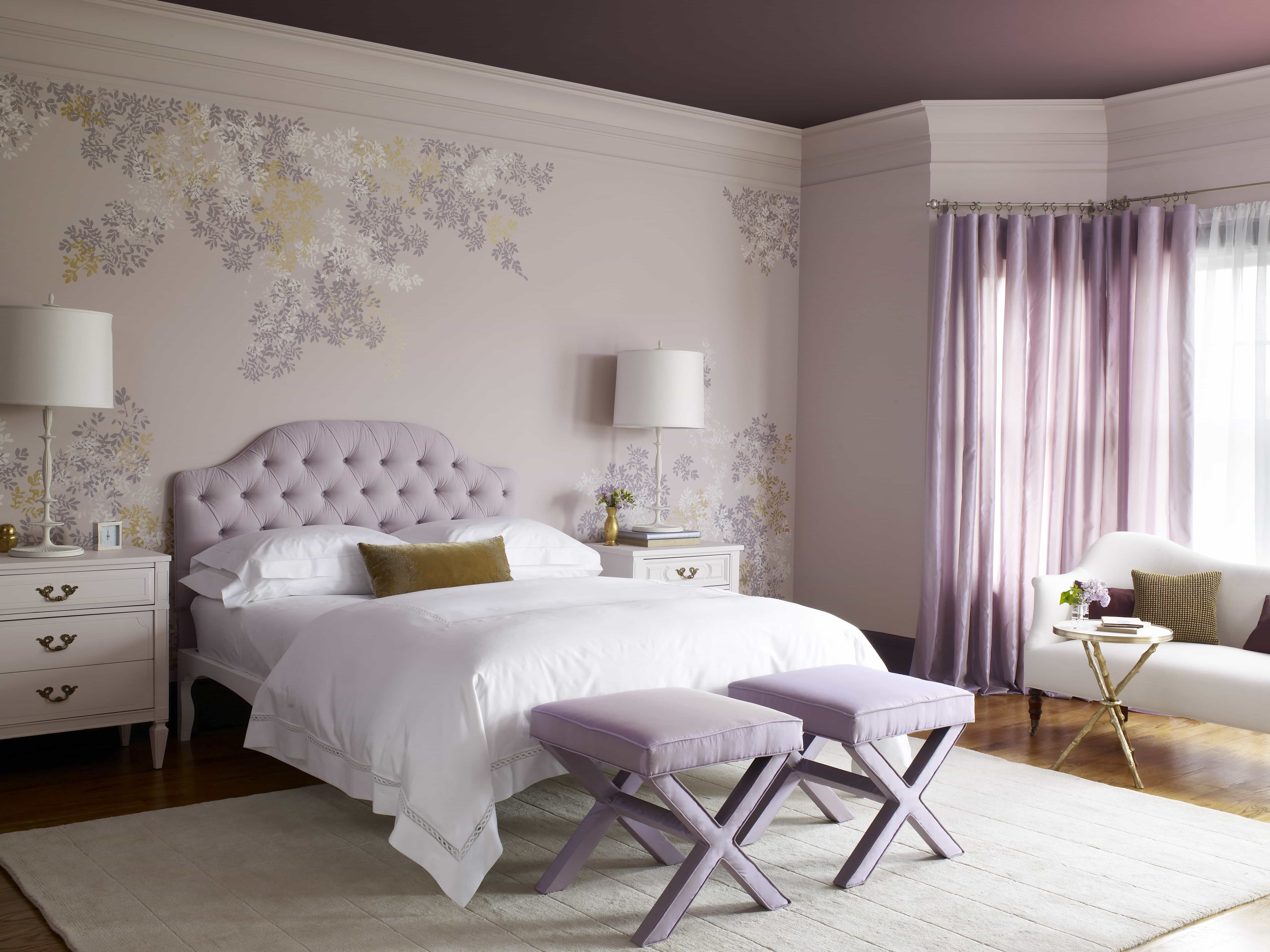 Serene Lavender Bedroom In Modern Decoration With Floral Wall Design (Image 22 of 28)