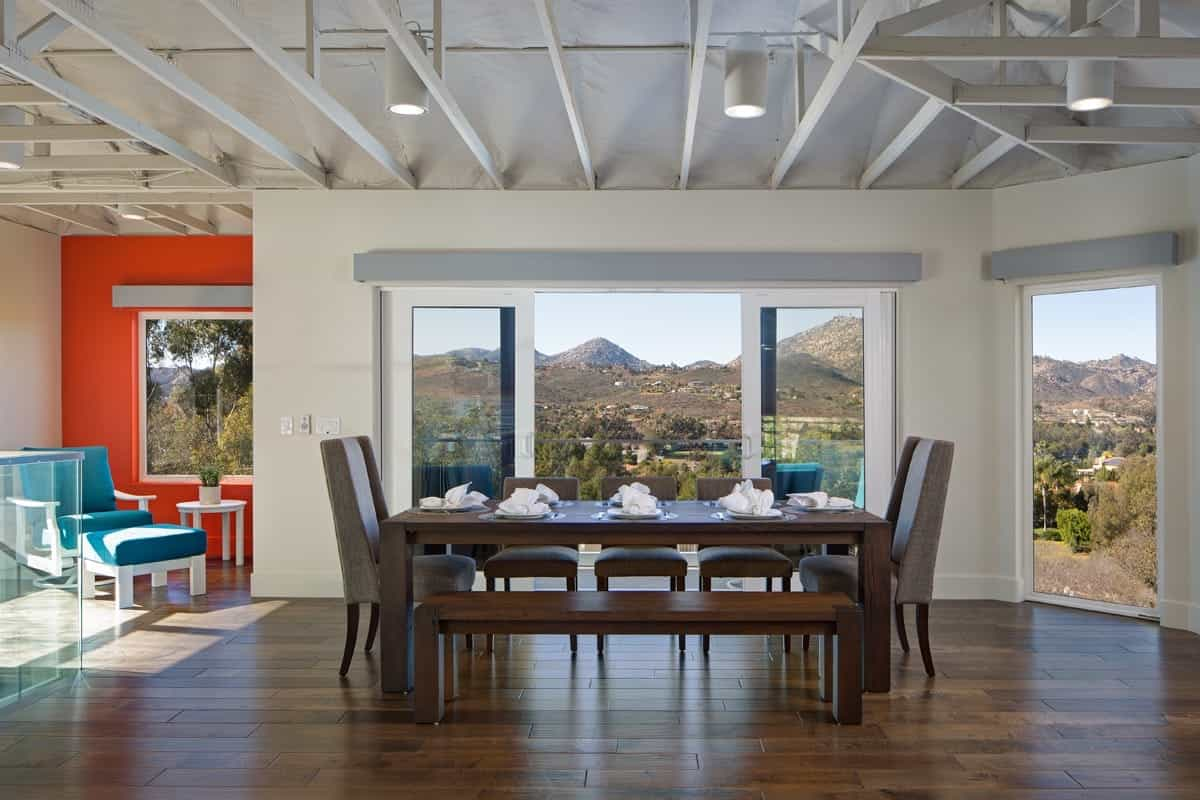 Sliding Glass Doors Outdoor View And Exposed White Ceiling Beams (Image 19 of 21)