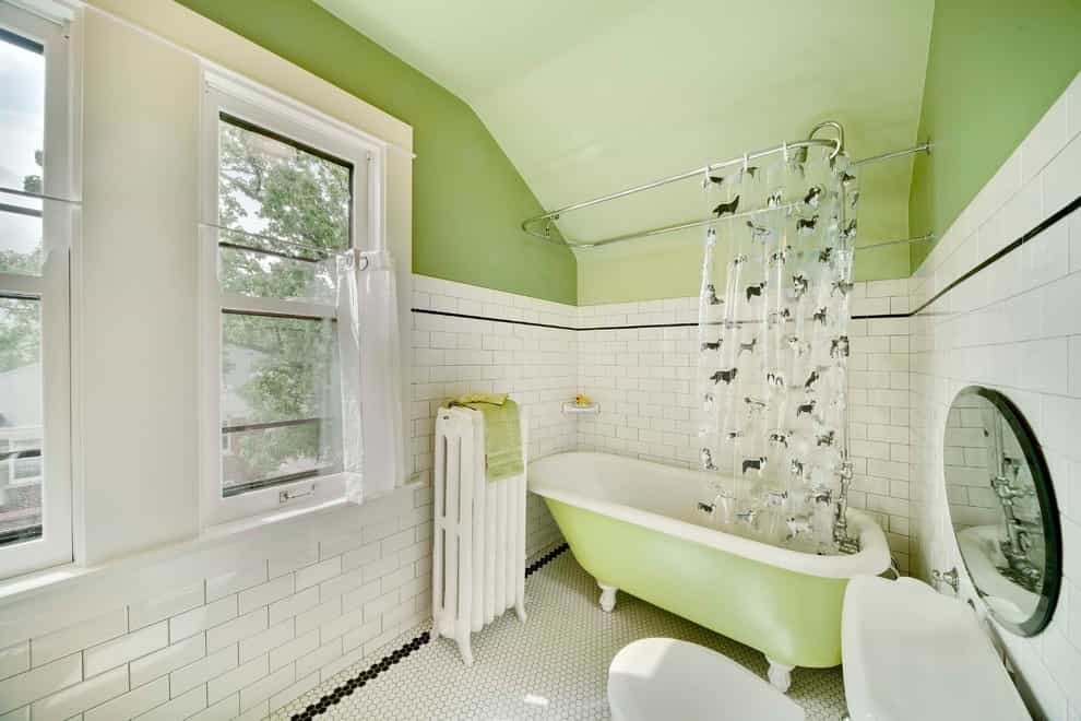 Small Elegant Tub:shower Combo Photo With A Claw Foot Tub And Subway Tile (Image 13 of 14)