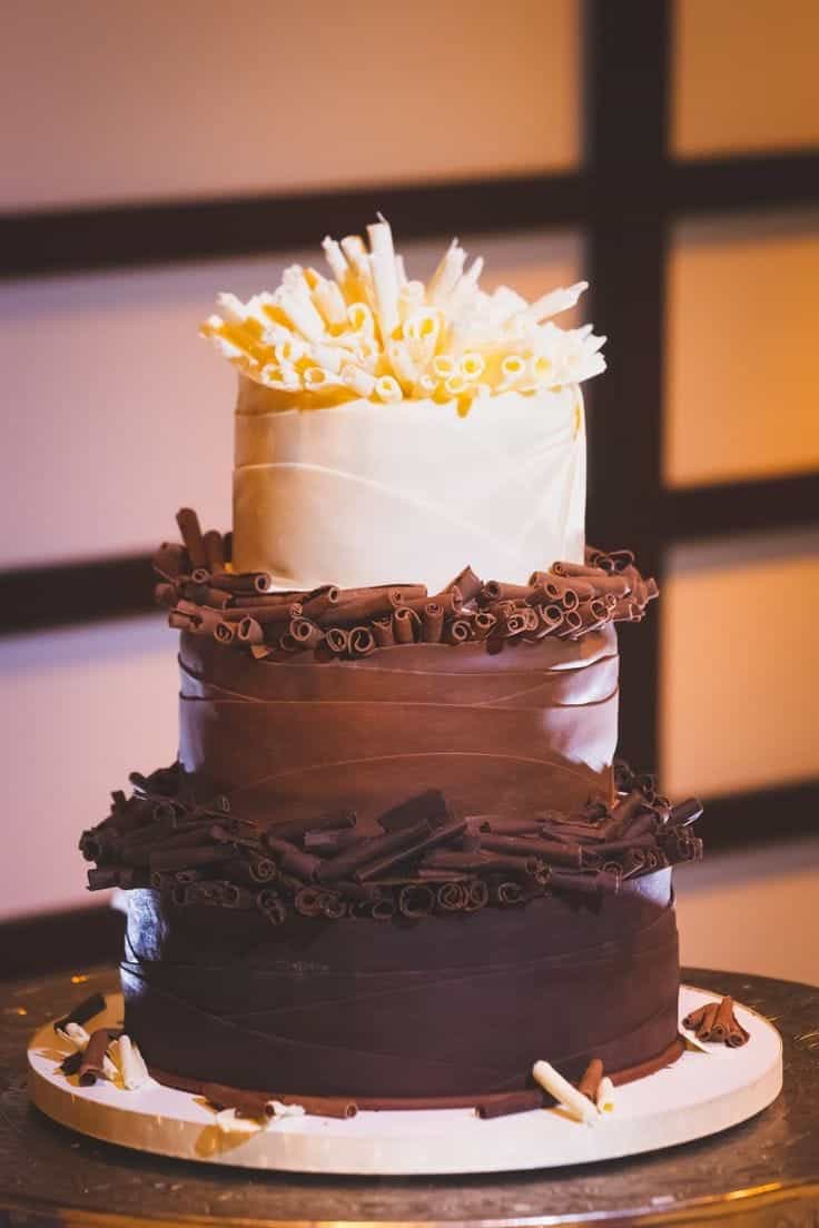 Three Tiers Dark, Milk And White Chocolate Wedding Cake (View 17 of 30)