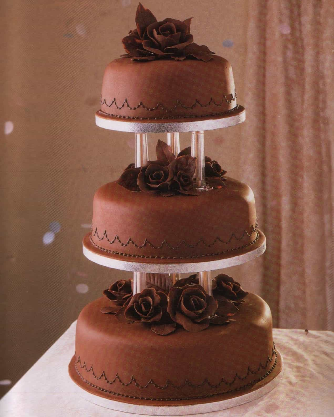 Three Tiers Long Chocolate Wedding Cake (View 11 of 30)