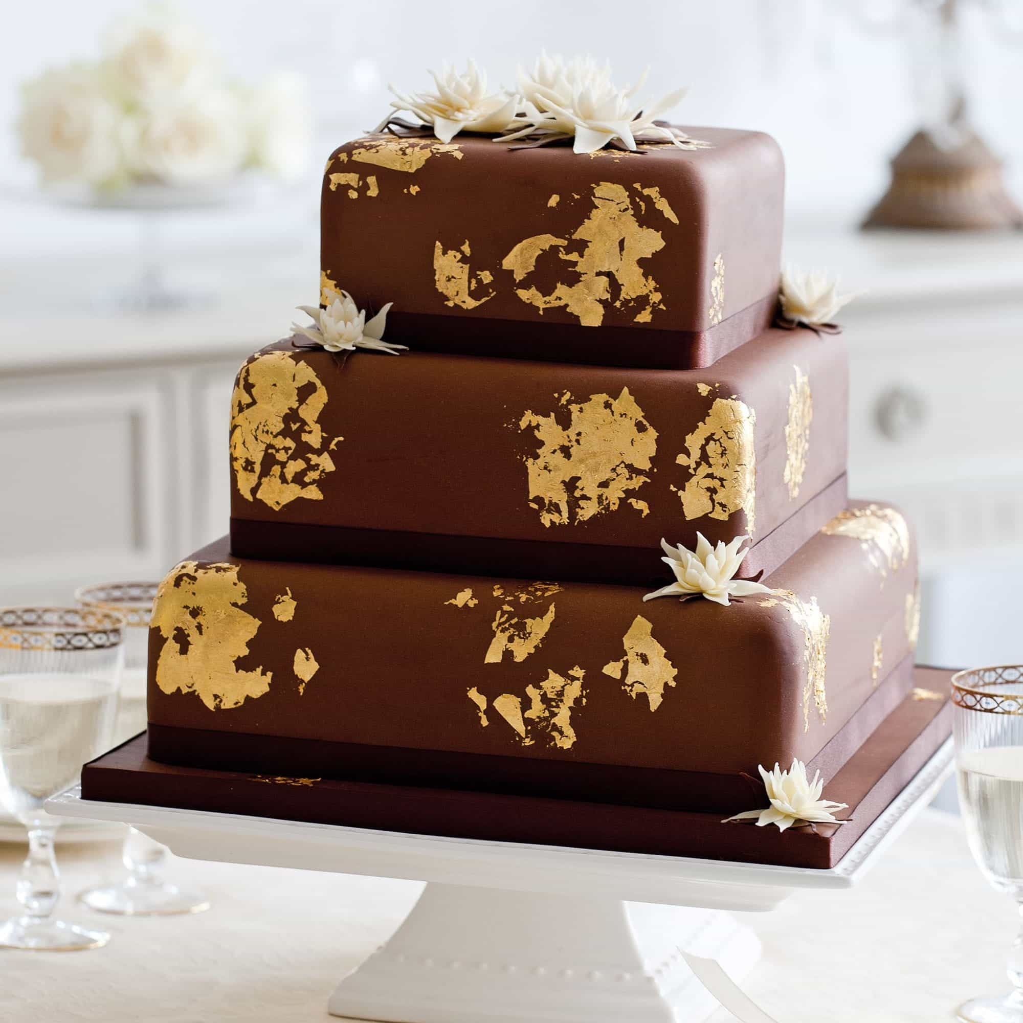 Three Tiers Square Chocolate Wedding Cake (Image 22 of 30)