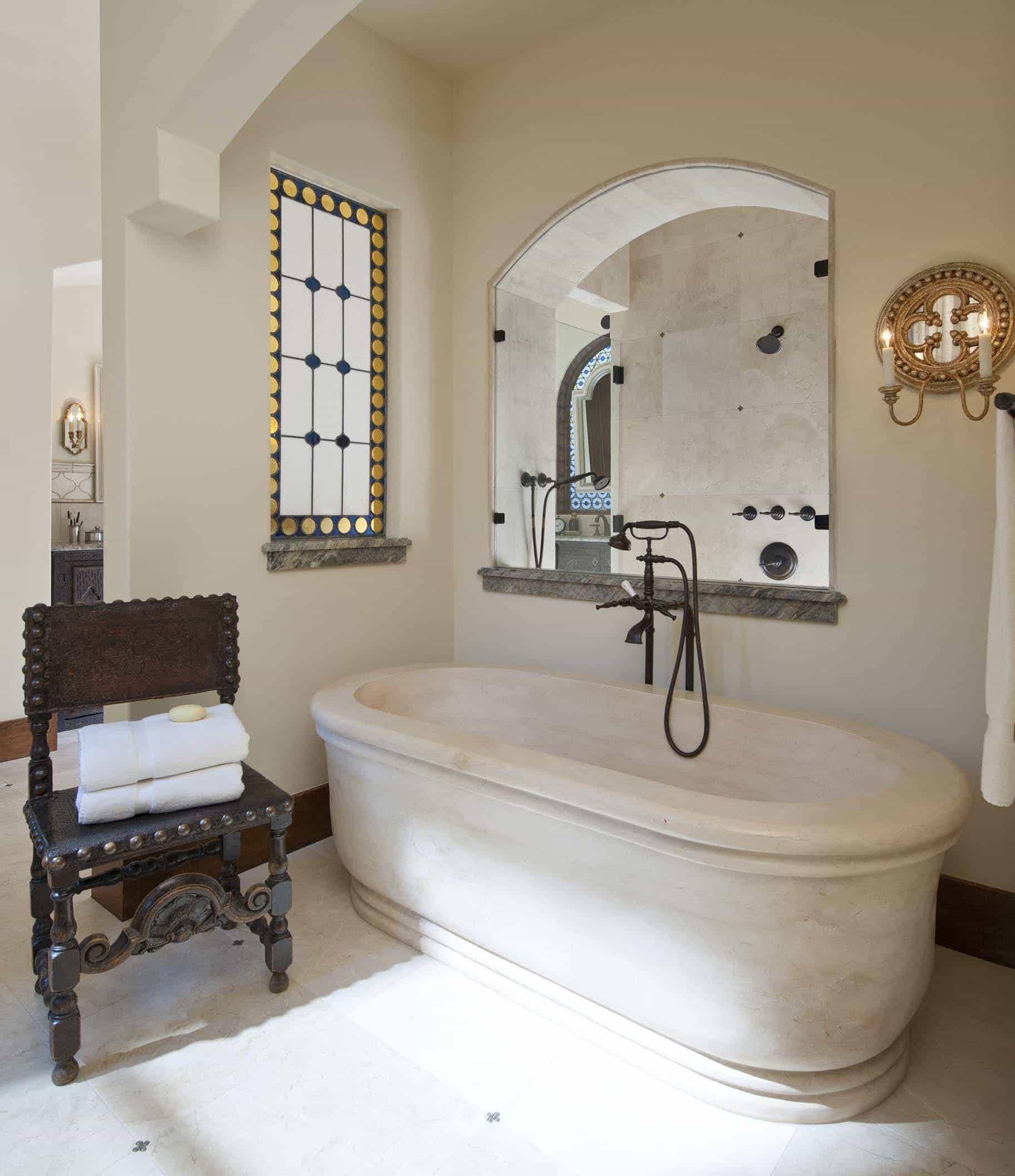 Timeless Stone Bathtub In Mexican Master Bathroom (Image 8 of 10)