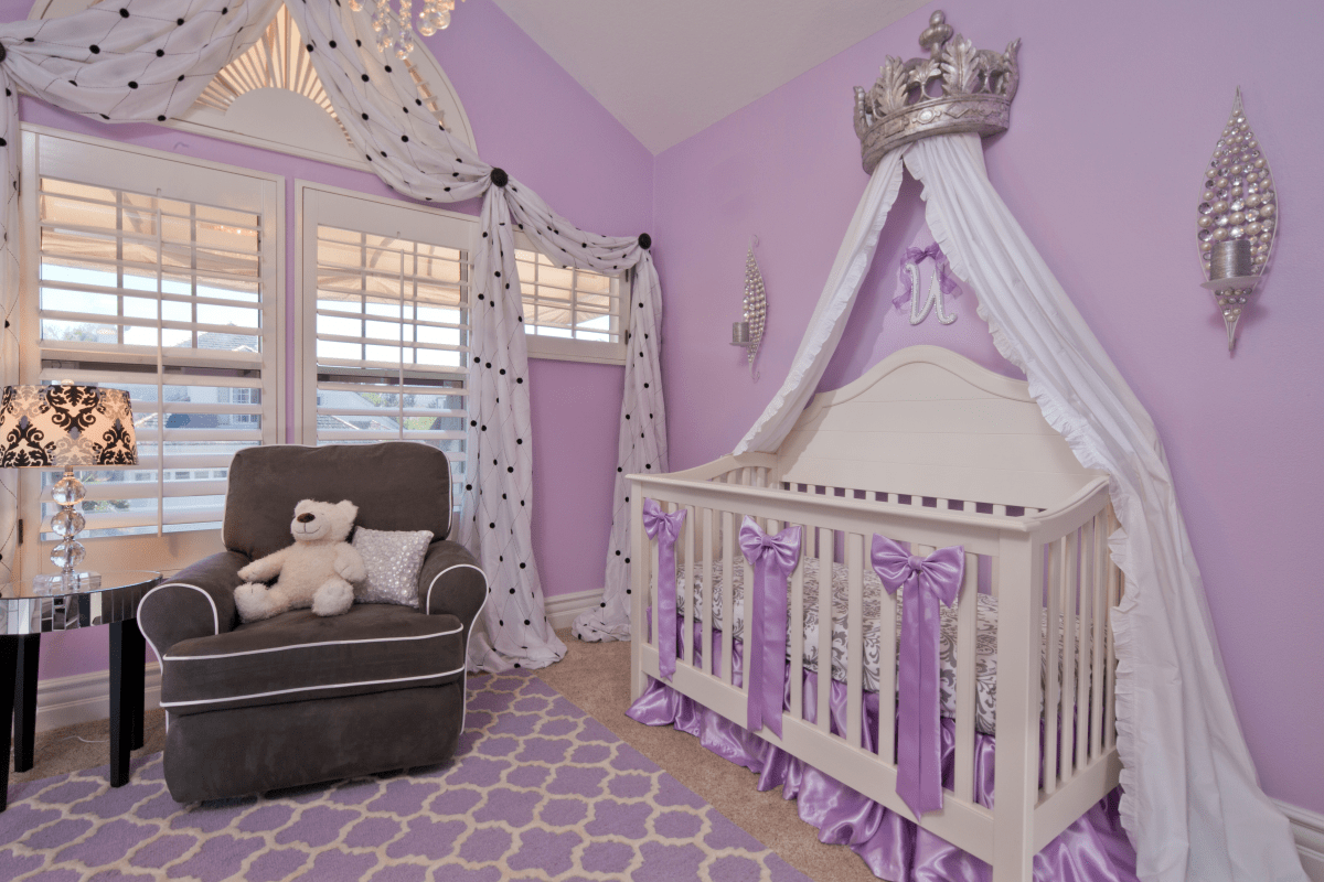 Traditional Bedroom Remodel To Purple Nursery With Silver Crown (Image 29 of 33)