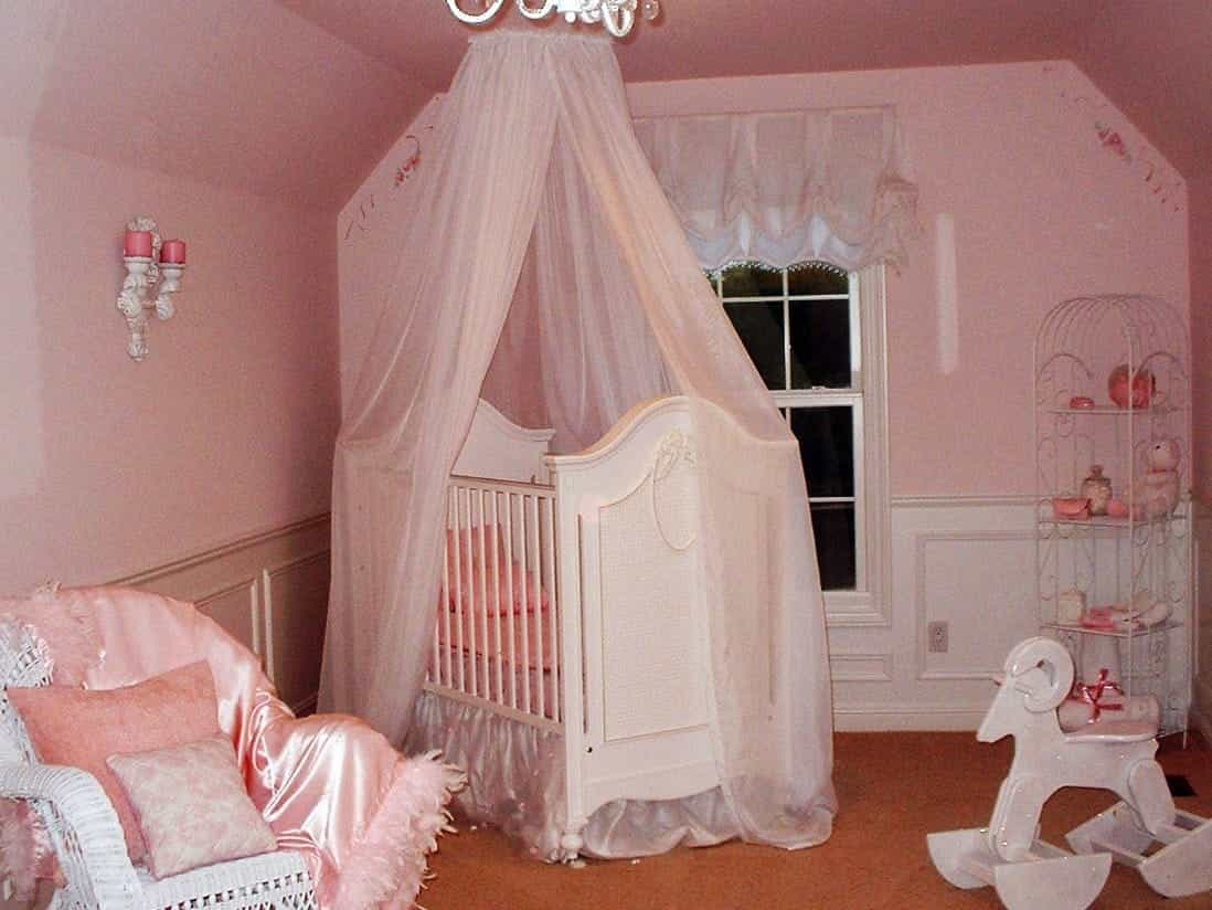 Traditional Ornate Pink Nursery With Crib Canopy (Image 30 of 33)