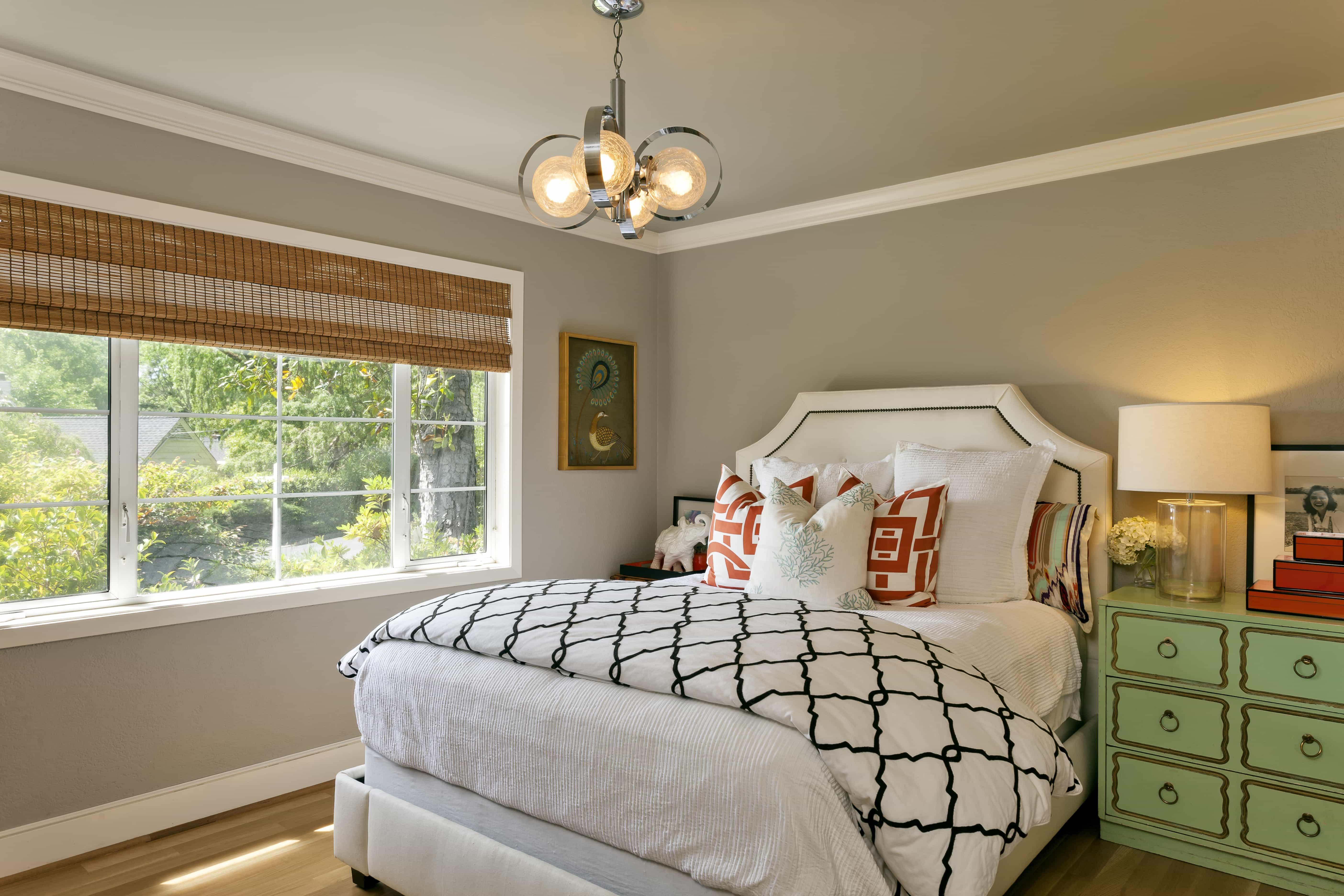 Transitional Gray Bedroom Decoration Ideas Features Funky Chandelier (Image 24 of 28)
