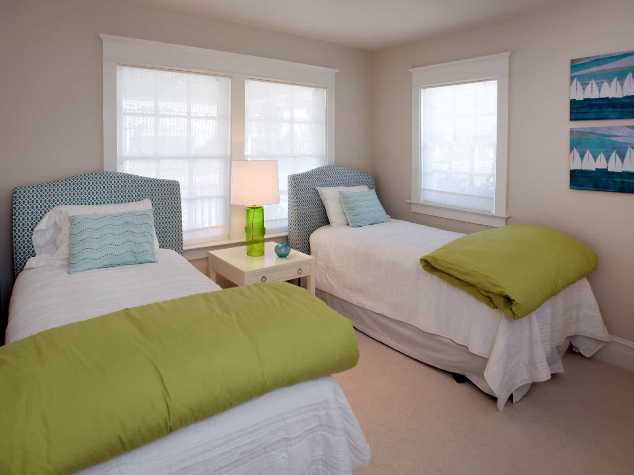 Transitional Kids Bedroom Gets Comfy With Blue And Green Twin Beds (Image 27 of 27)
