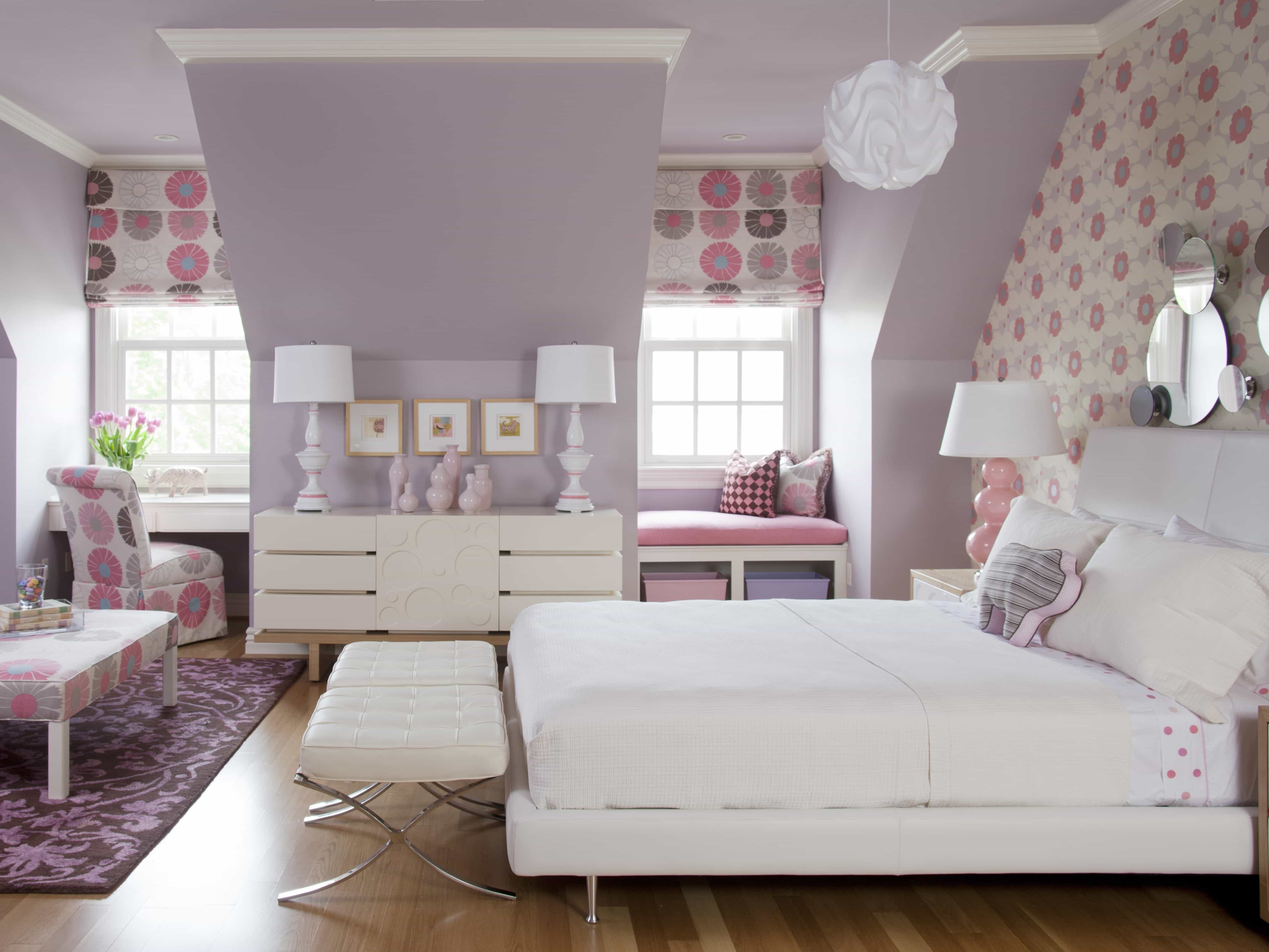 Transitional Lavender And White Girls Bedroom Decoration (Image 25 of 28)