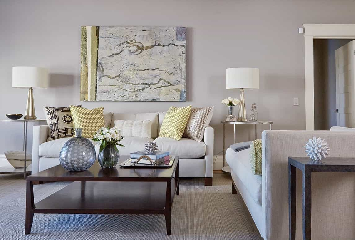 Transitional Living Room With Chaise Around Square Wood Coffee Table And Metallic Decorative Accents (Image 30 of 32)