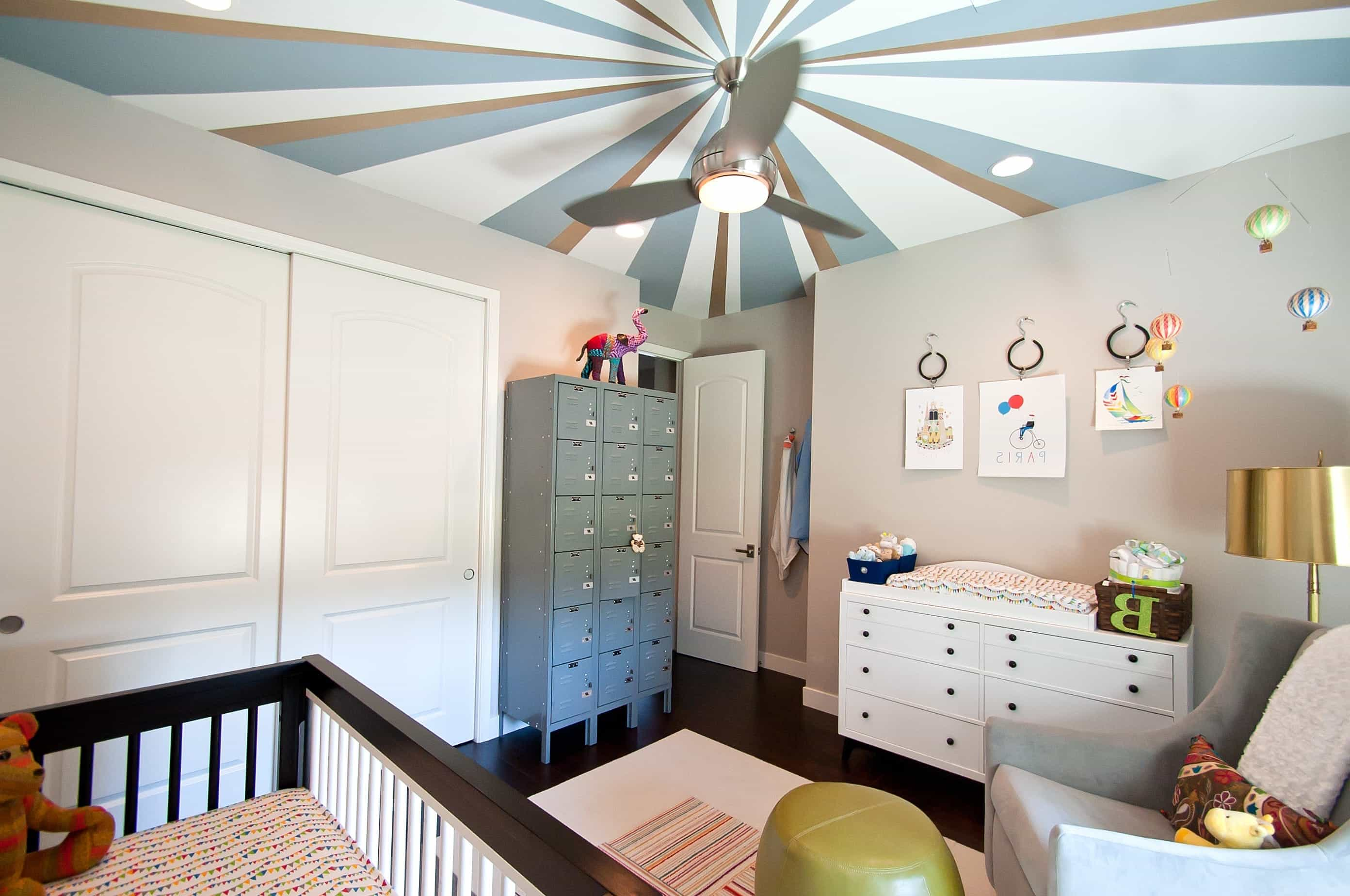 Transitional Nursery With Striking Painted Ceiling (Image 31 of 33)