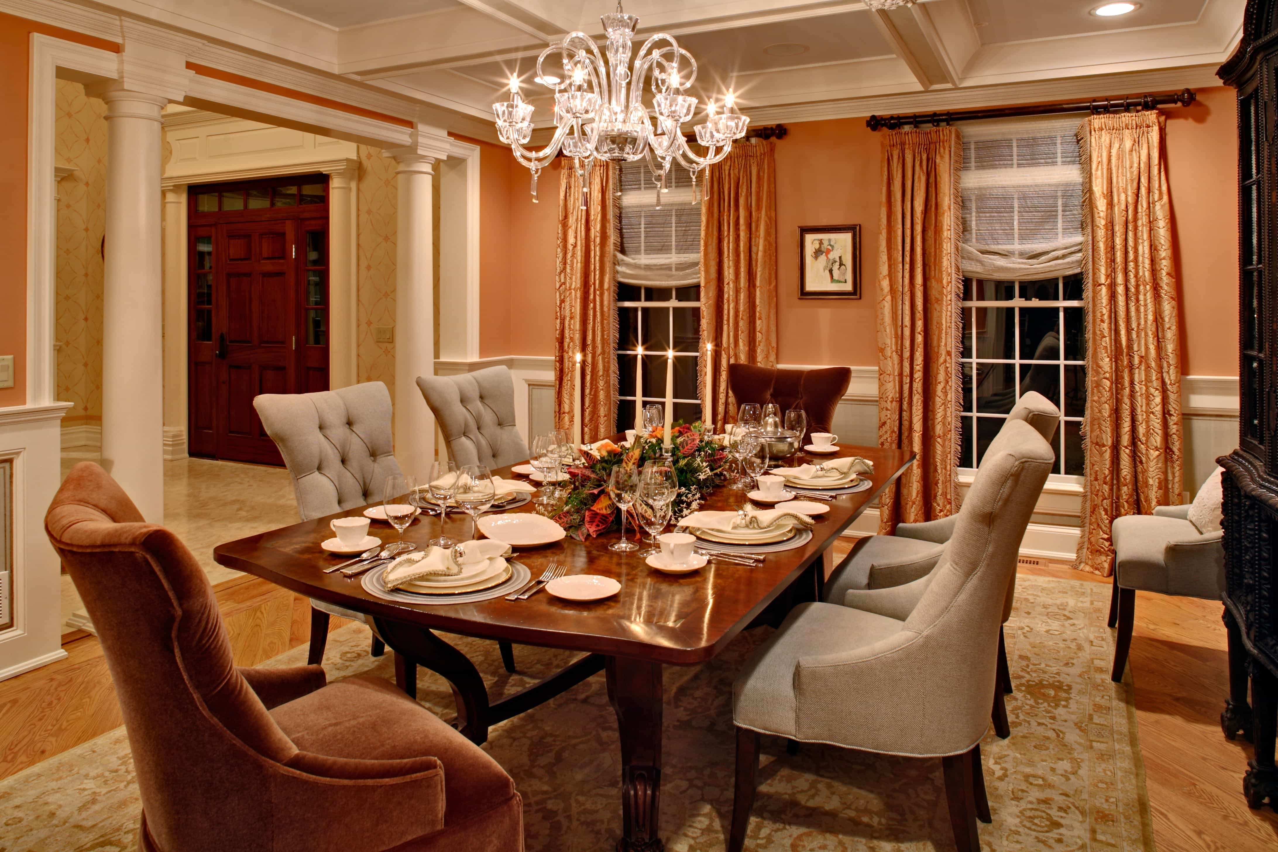 Transitional Romantic Dining Room With Peach Tones (Photo 15 of 21)