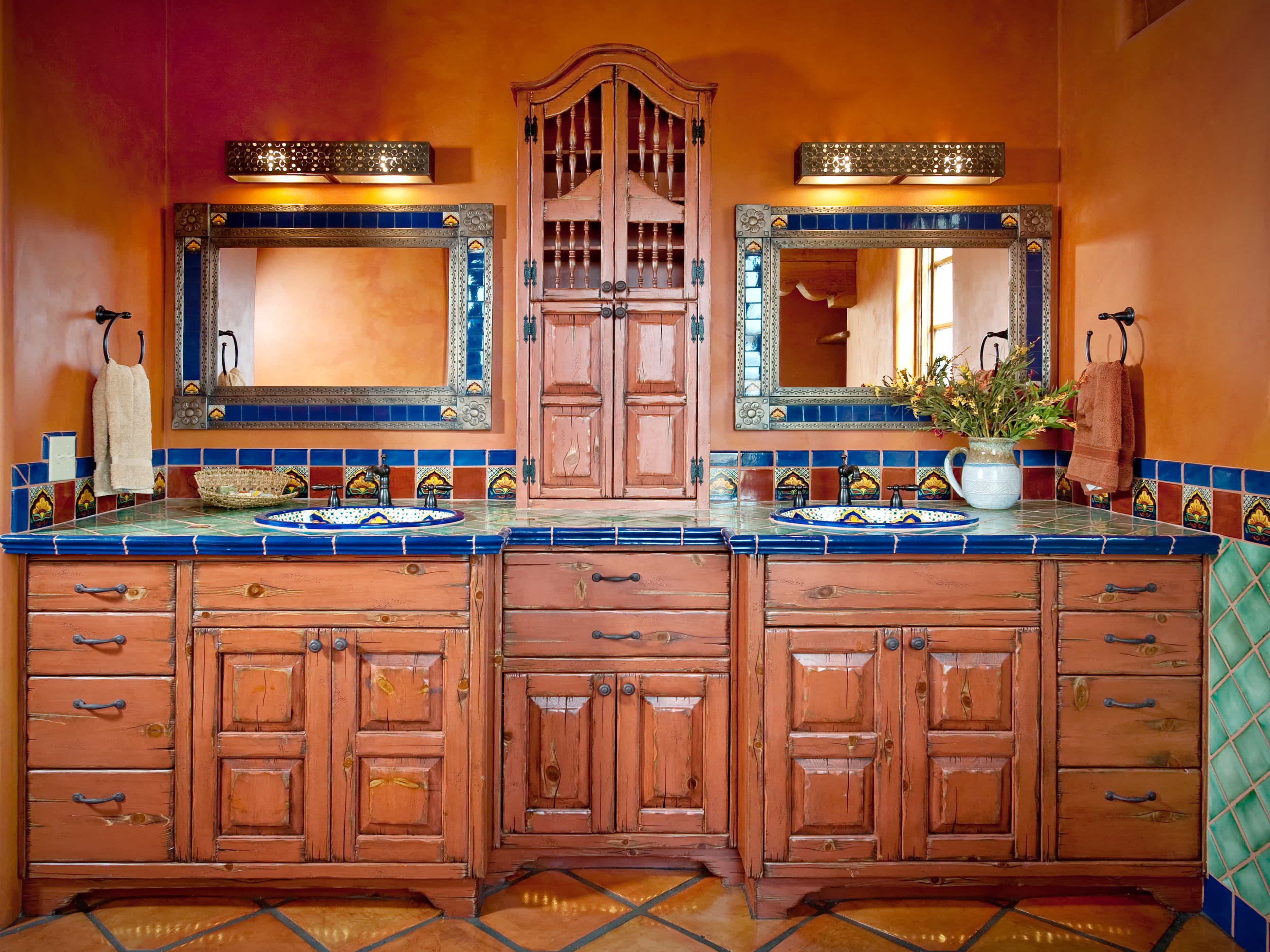 Twin Mexican Style Vanities For Classic Bathroom (Image 9 of 10)