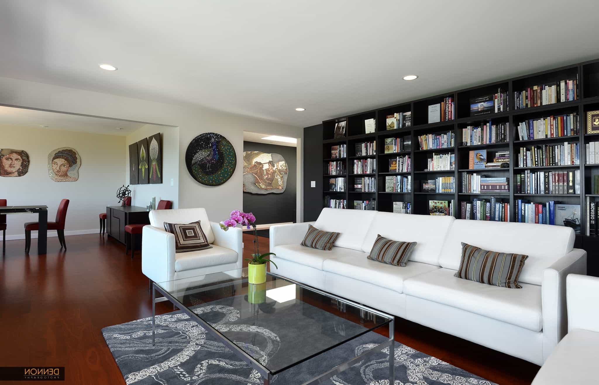 Wall Of Built In Bookshelves In Sophisticated Living Room  (Image 28 of 29)
