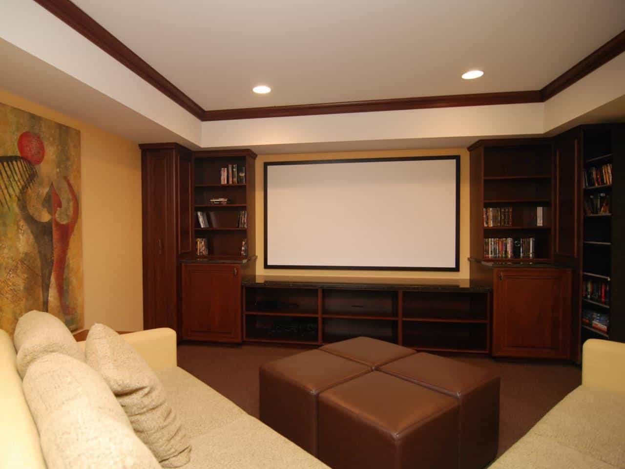 Warm, Masculine Media Room With Leather Sofa (Image 20 of 21)