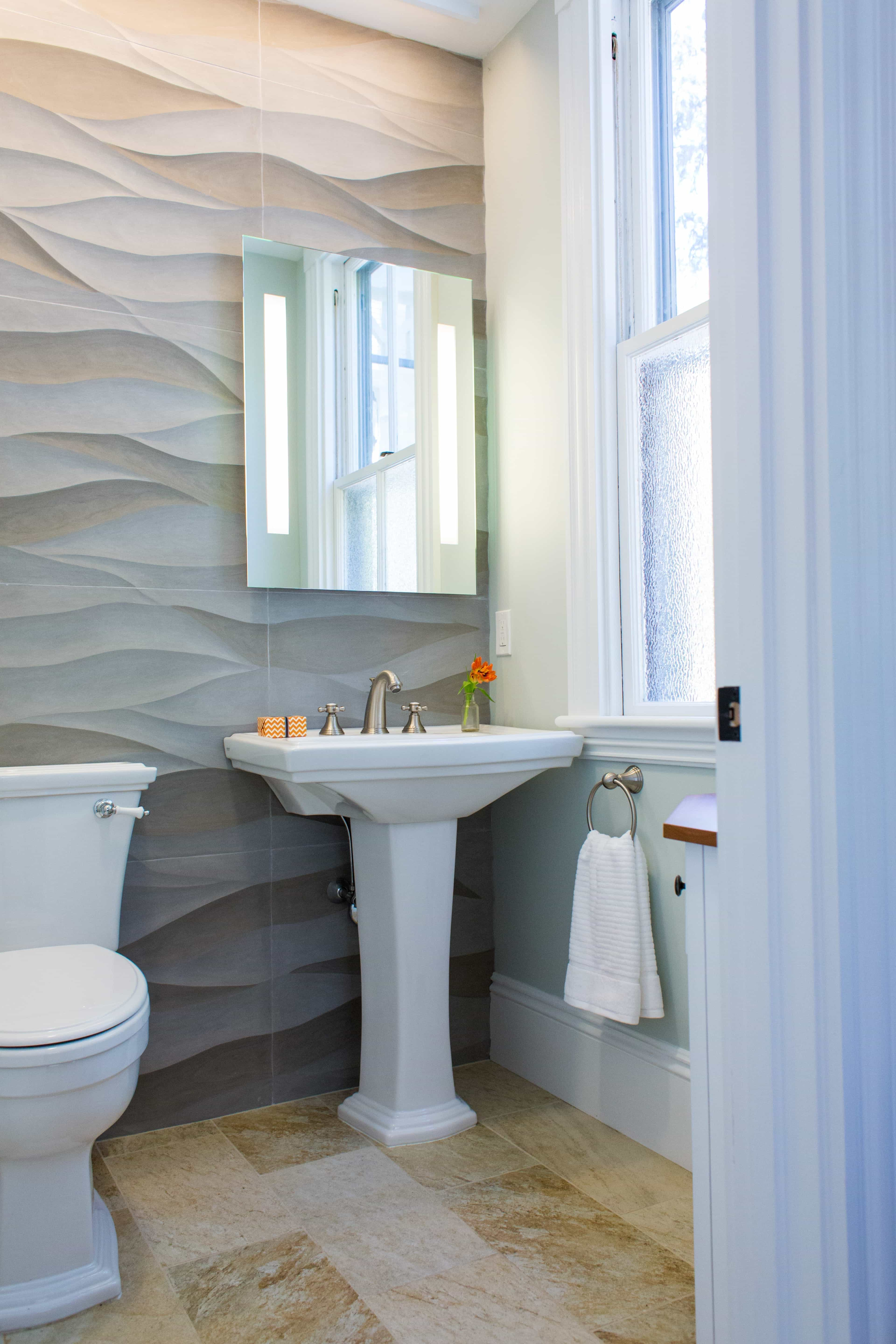 Wavy Stone Contour Wallpaper For Bathrooms (View 5 of 10)