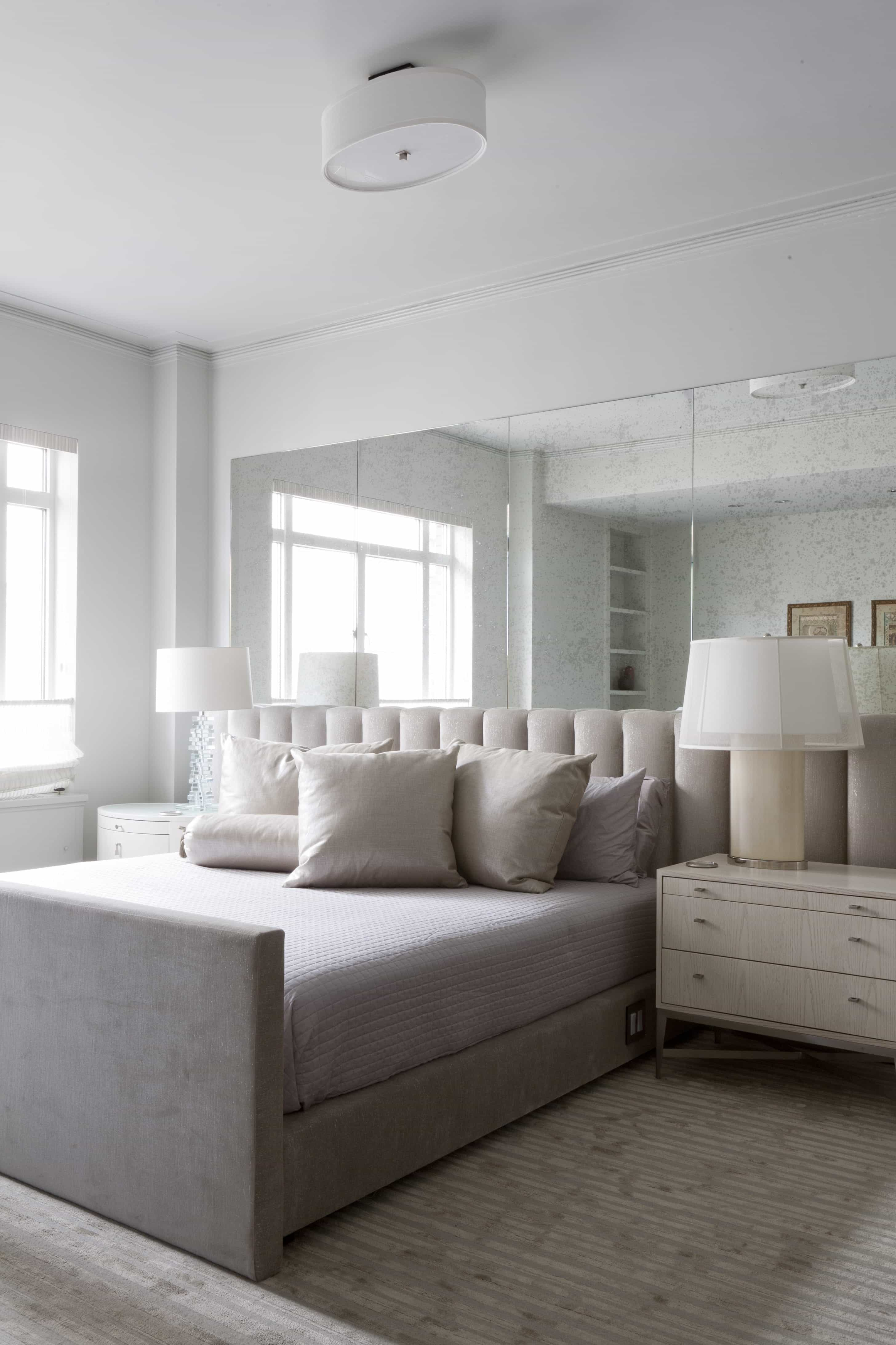 White Bedroom With Mirrored Accent Wall (Image 27 of 28)