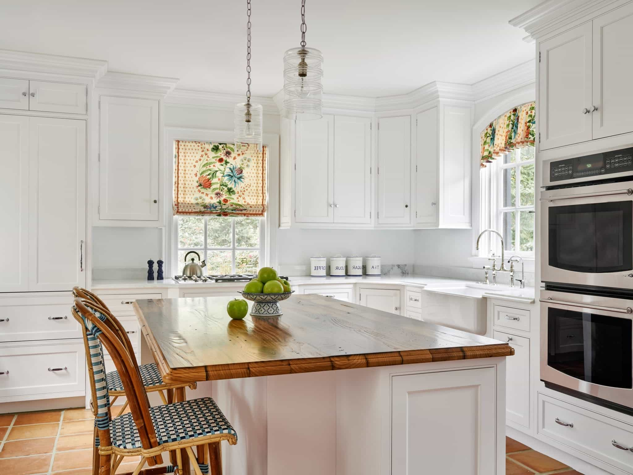 White French Country Kitchen With Yellow Window Curtain Treatments (Image 10 of 11)