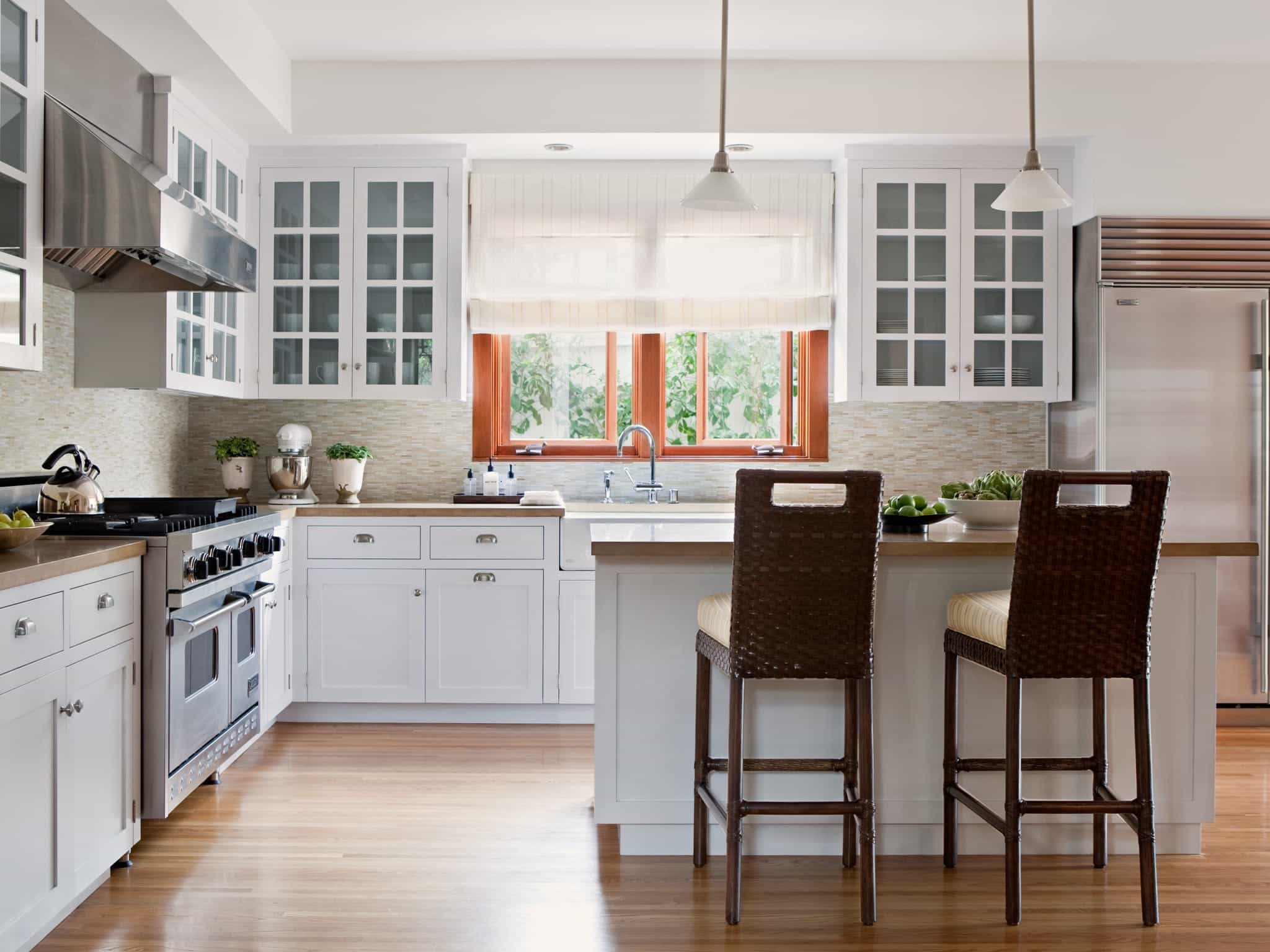 White Kitchen With Light Airy Window Curtain Treatment (Image 11 of 11)