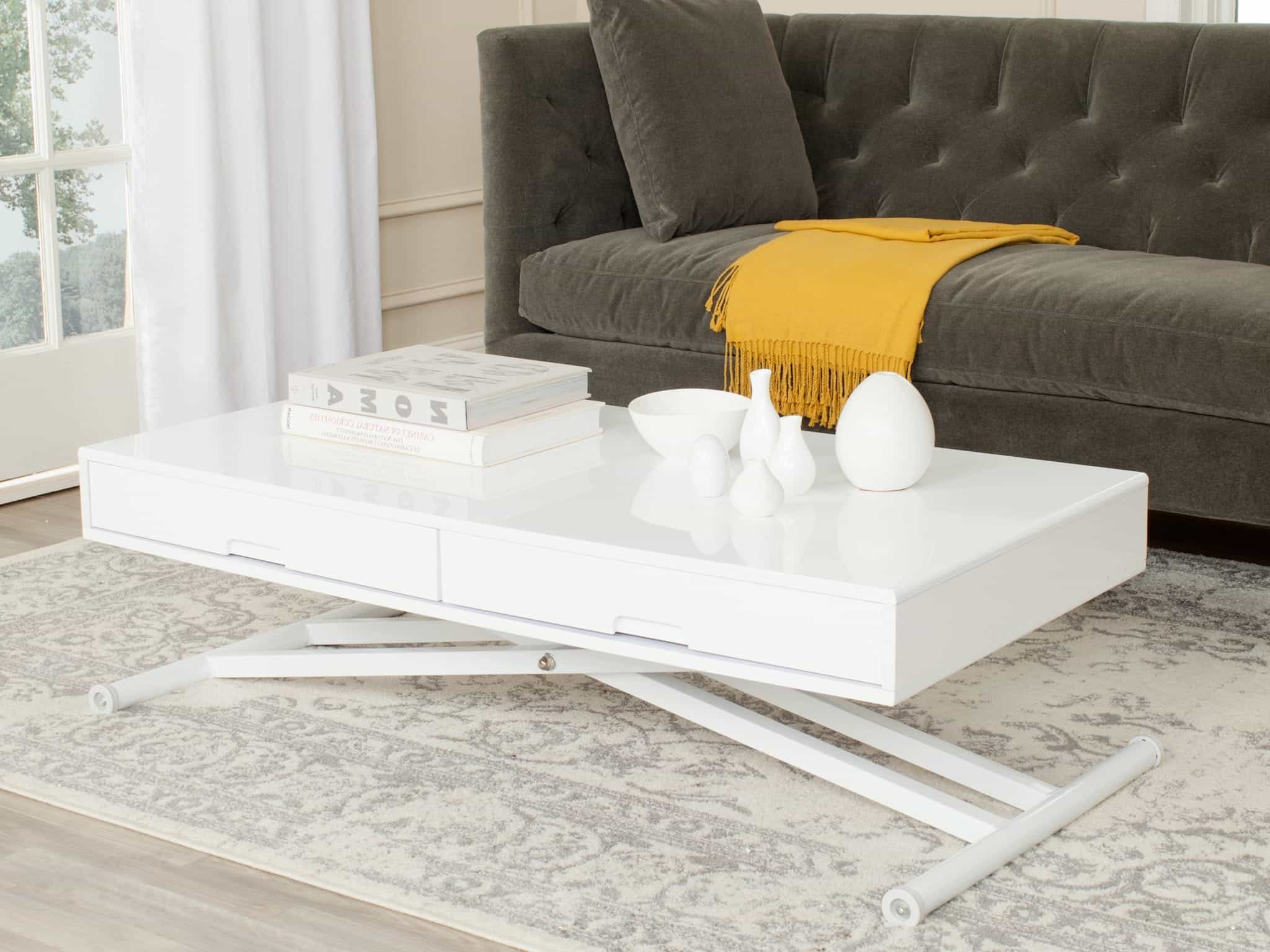 White Lacquer Coffee Table With Storage (Image 31 of 32)