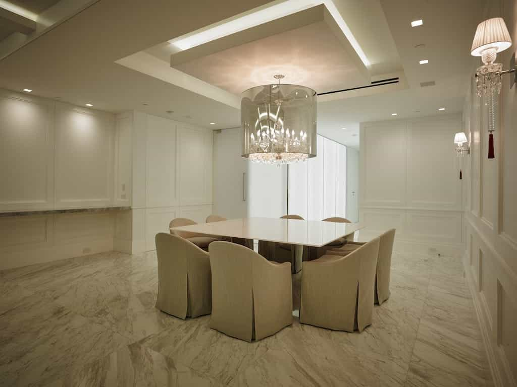 White Modern Dining Room With Marble Floor 2017 (Photo 5 of 13)