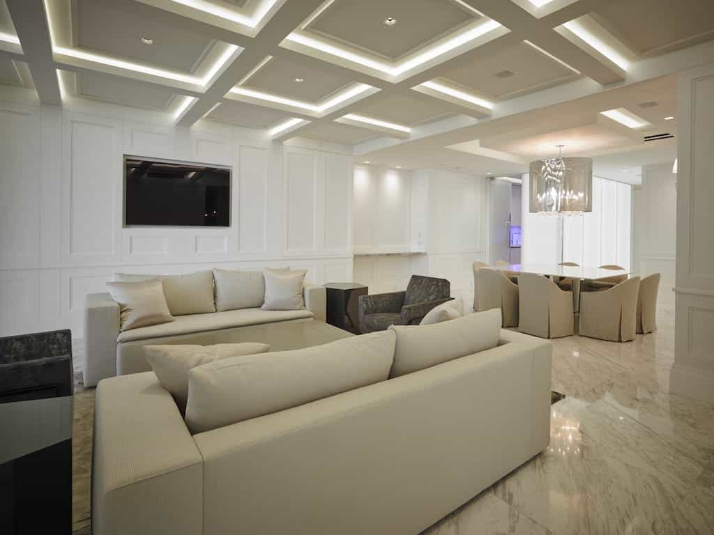 White Modern Open Plan Living Room With Textured Marble Floor (View 6 of 13)
