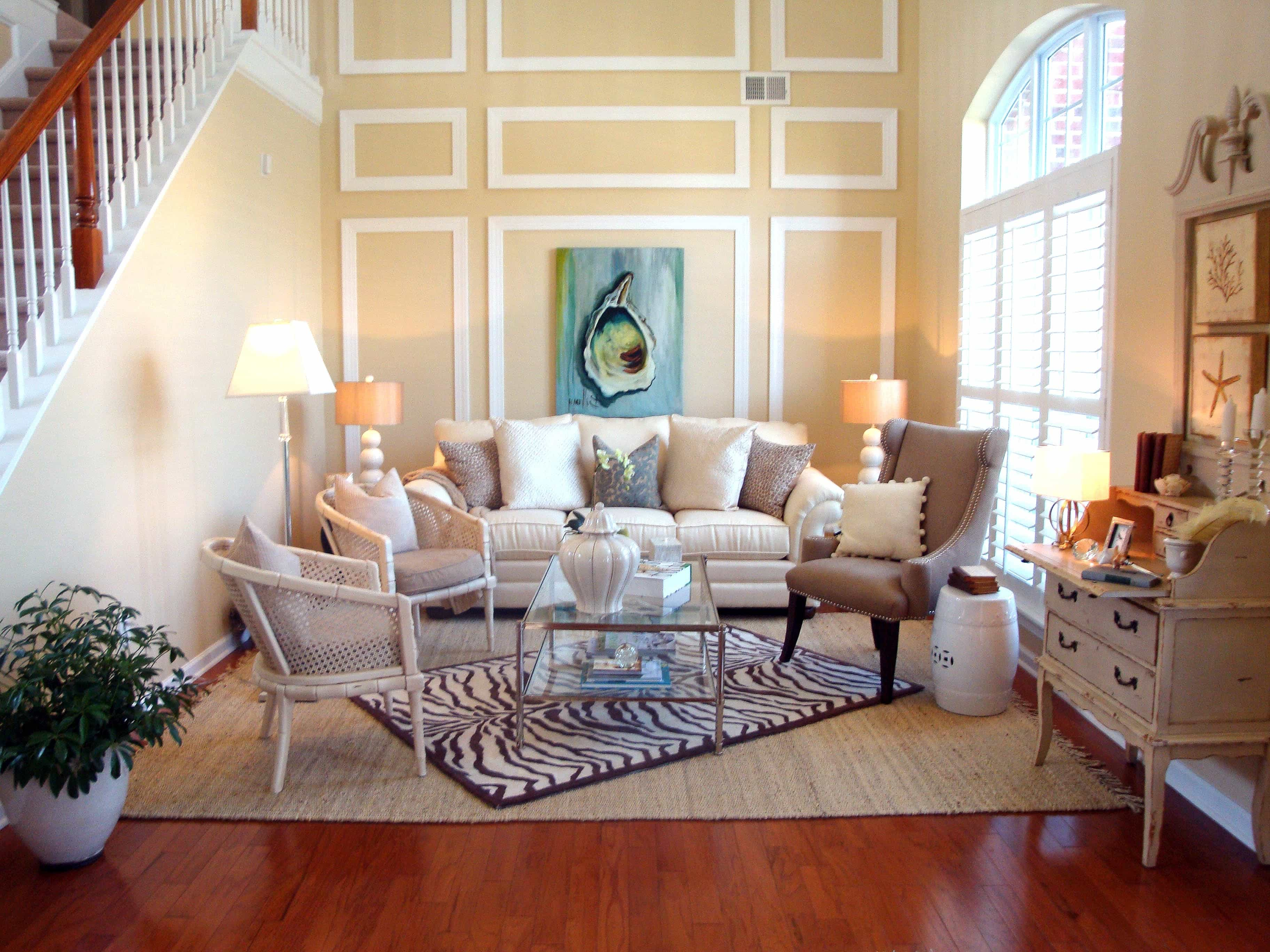 Yellow Traditional Living Room With Coastal Accents And Zebra Antique Carpet Flooring (Photo 10 of 13)