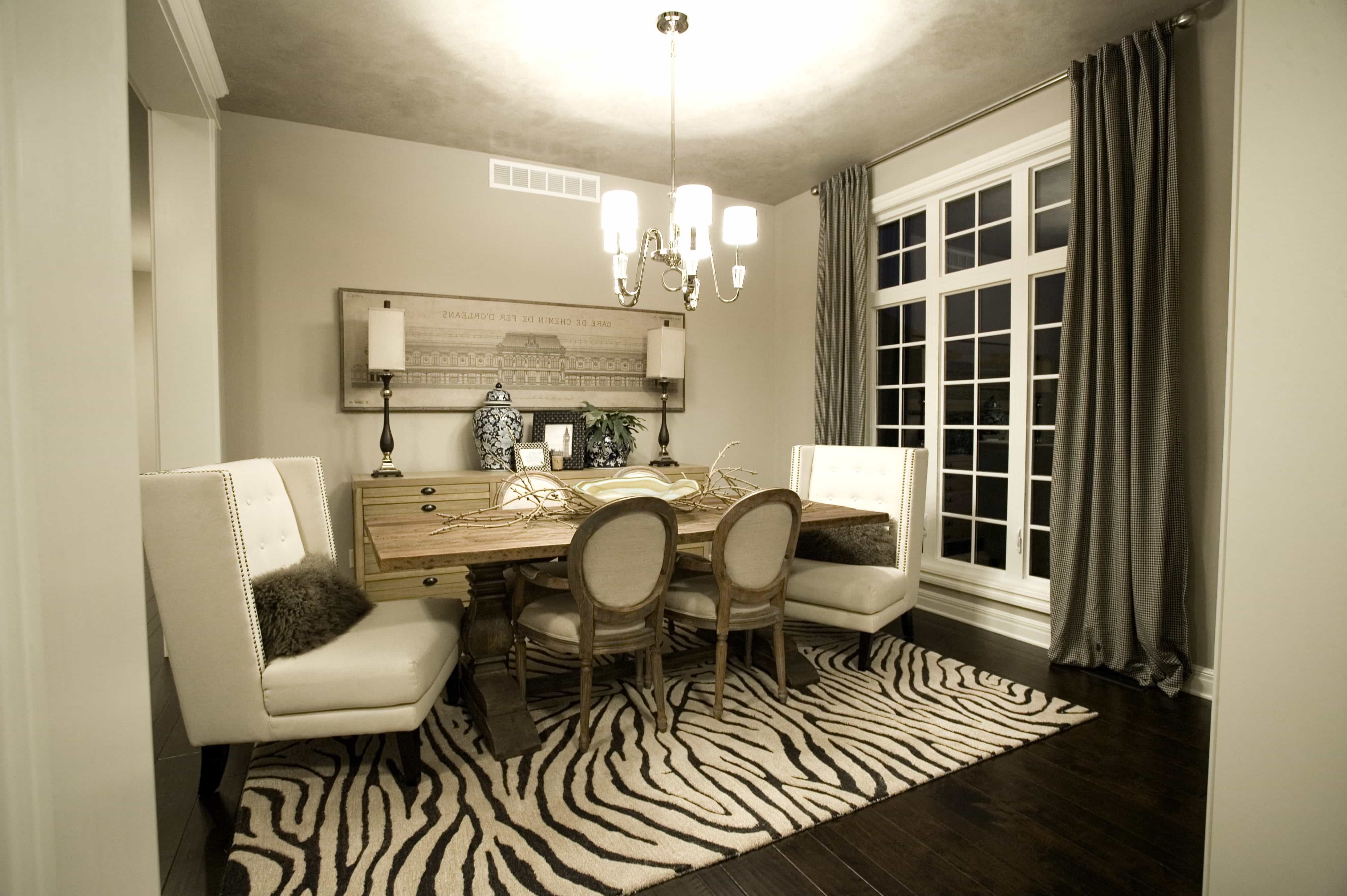 Zebra Area Rug For Rustic Dining Room (Image 28 of 28)