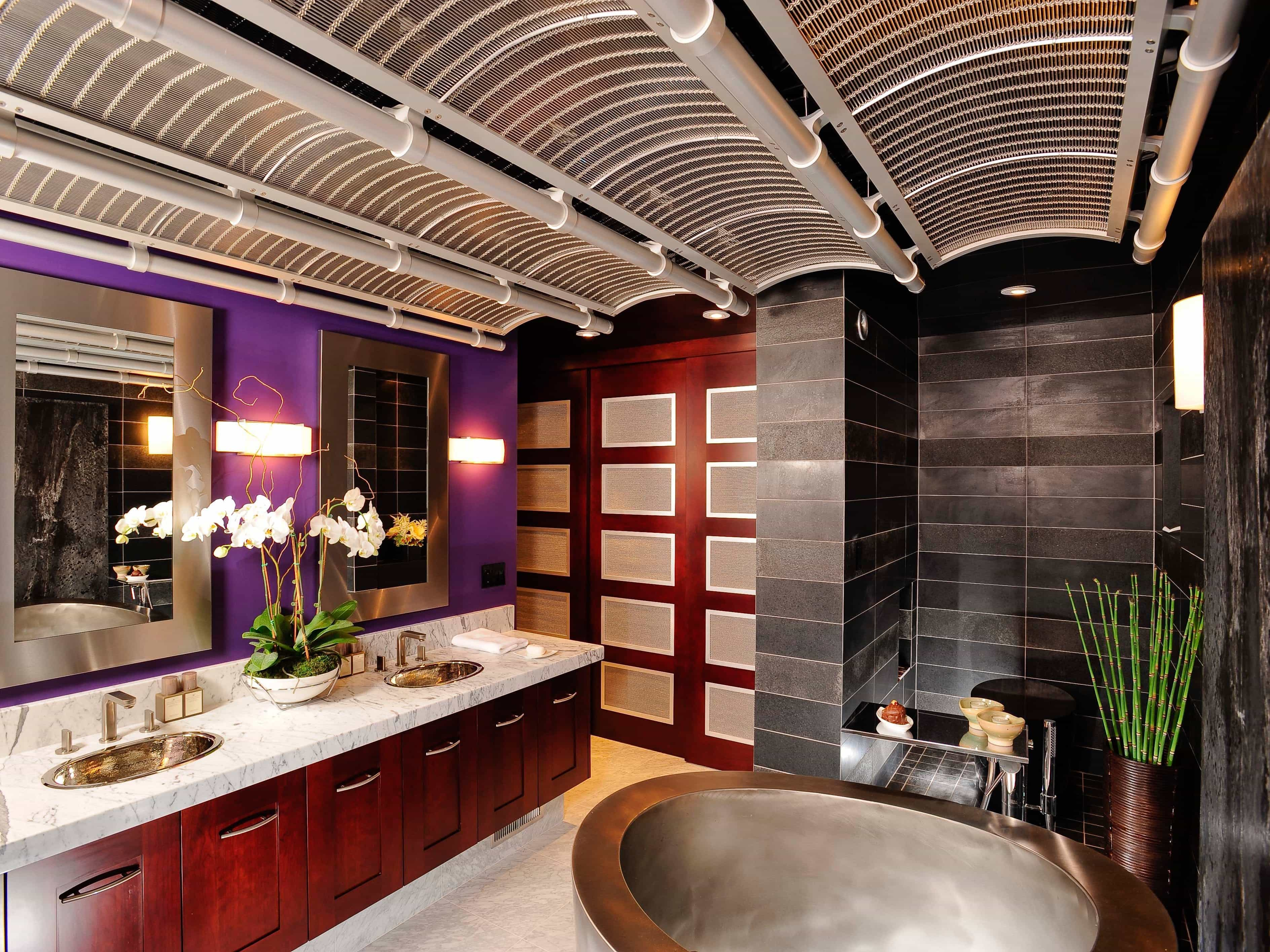 Asian Inspired Master Bathroom With Purple Accent Wall (View 30 of 32)