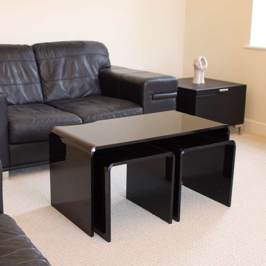Black Acrylic Coffee Table For Living Room (Image 3 of 30)