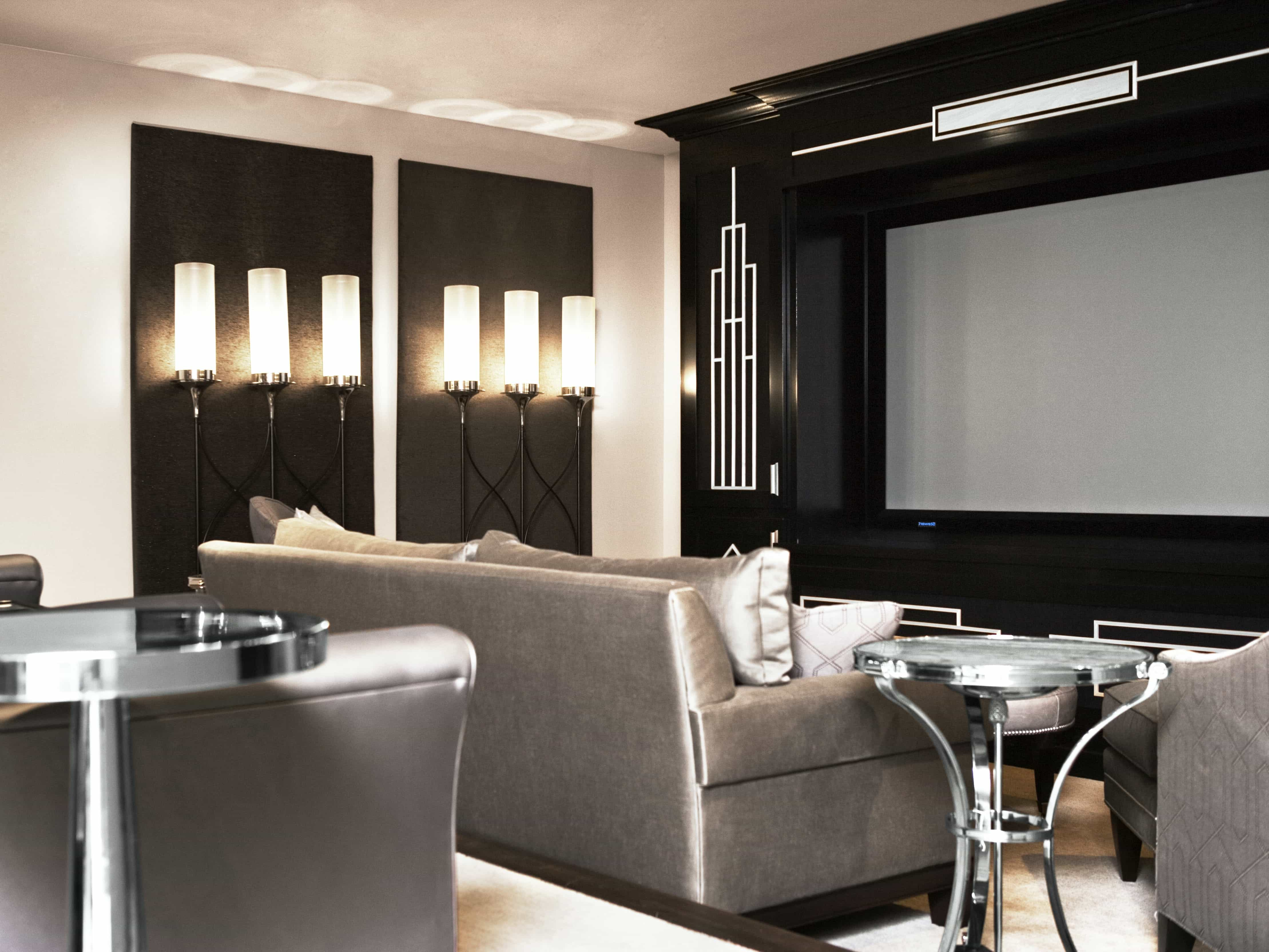 Black And Silver Home Theater With Uplighting (Image 3 of 21)