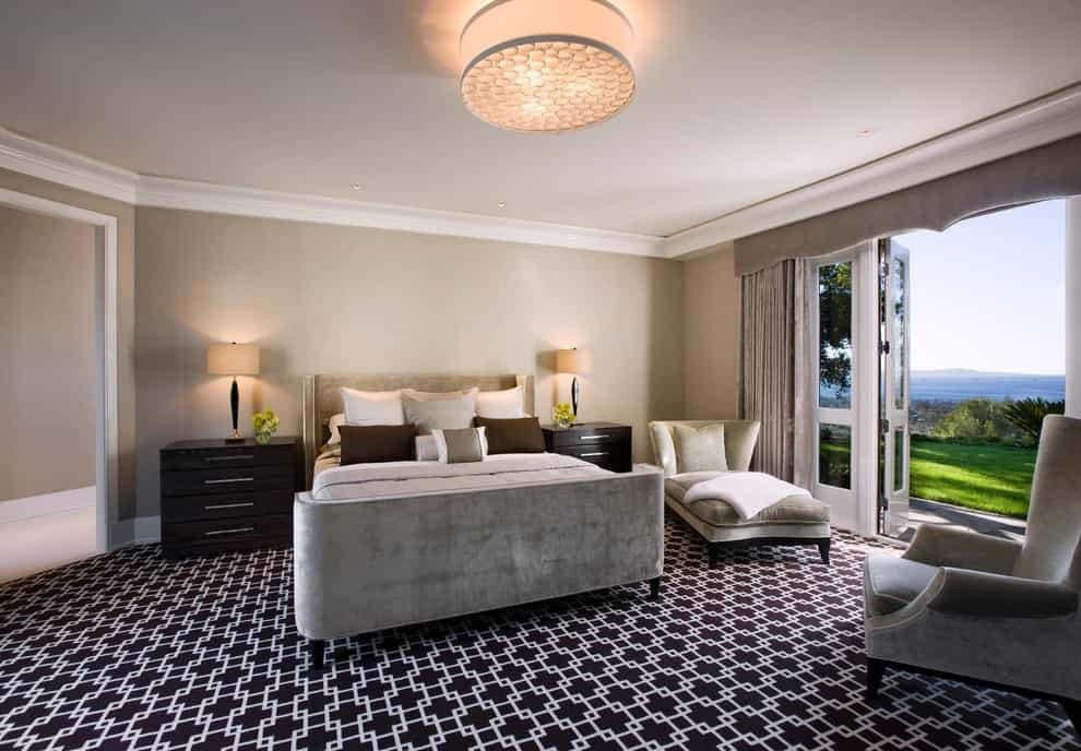 Black And White Carpet Pattern Flooring For Modern Classic Bedroom Decoration (Photo 10 of 18)