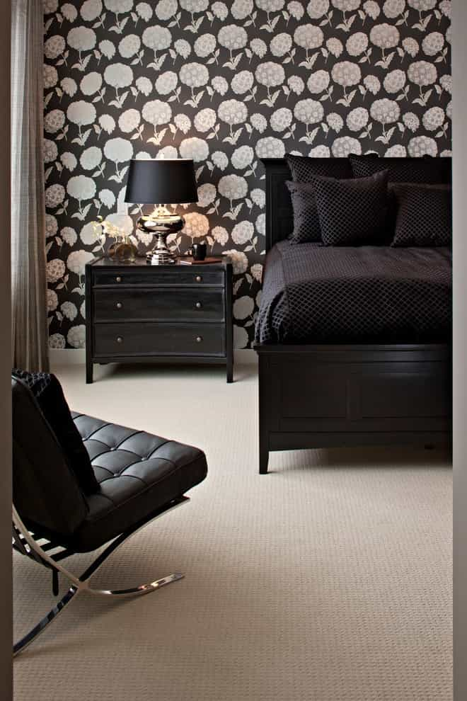 Black Bedroom Decor Theme With Carpet Flooring (Image 3 of 18)
