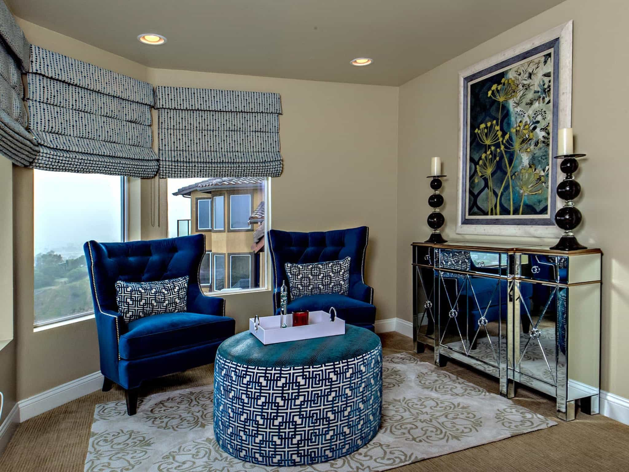 Blue Velvet Tufted Wingback Chairs And Ottoman For Small Classic Living Room (Image 2 of 13)