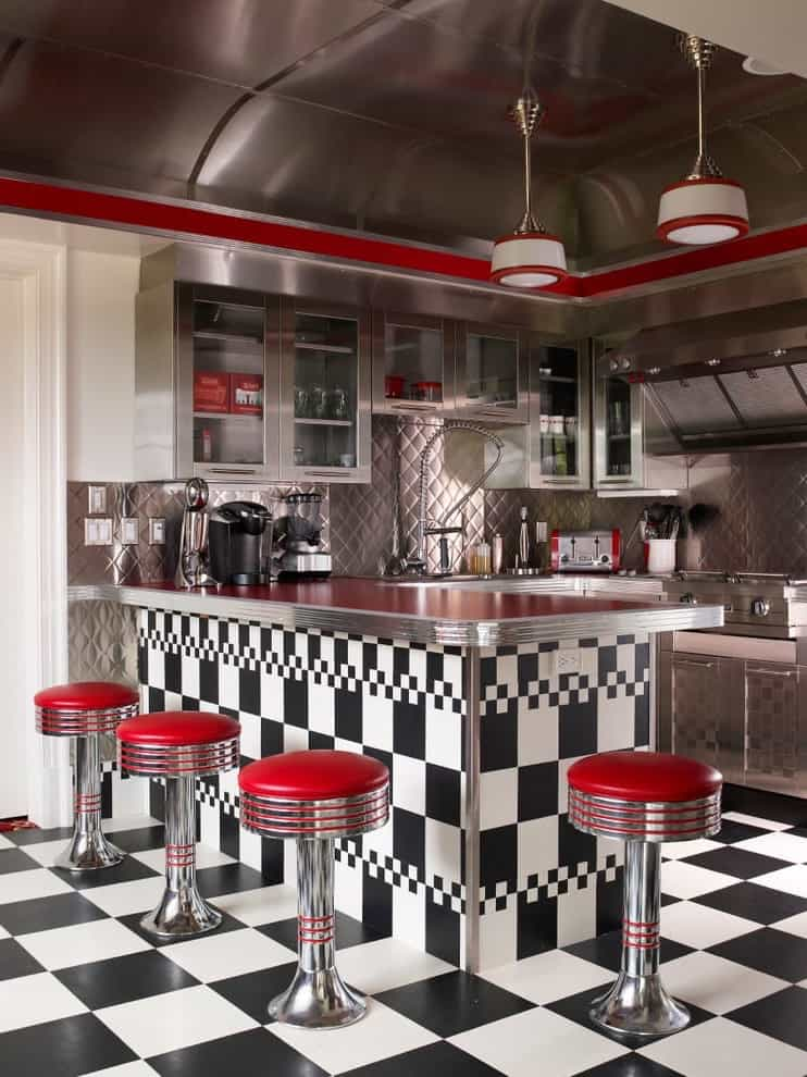 Checkerboard Ceramic Floor For Retro Diner Kitchen (Image 1 of 5)