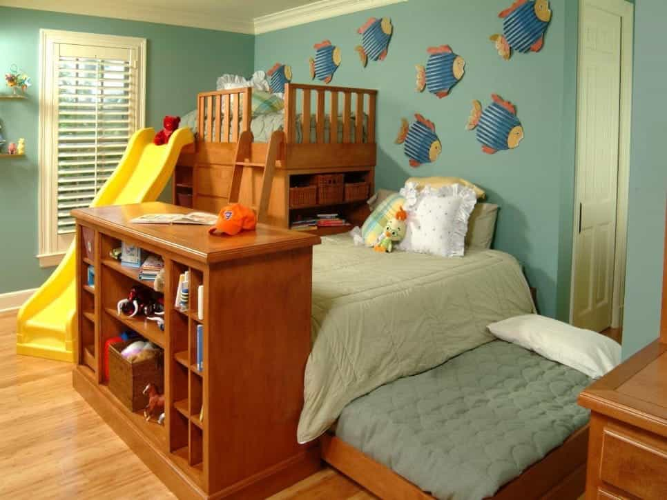 Child's Bedroom Features Three Beds And Custom Wooden Shelving (Image 7 of 27)