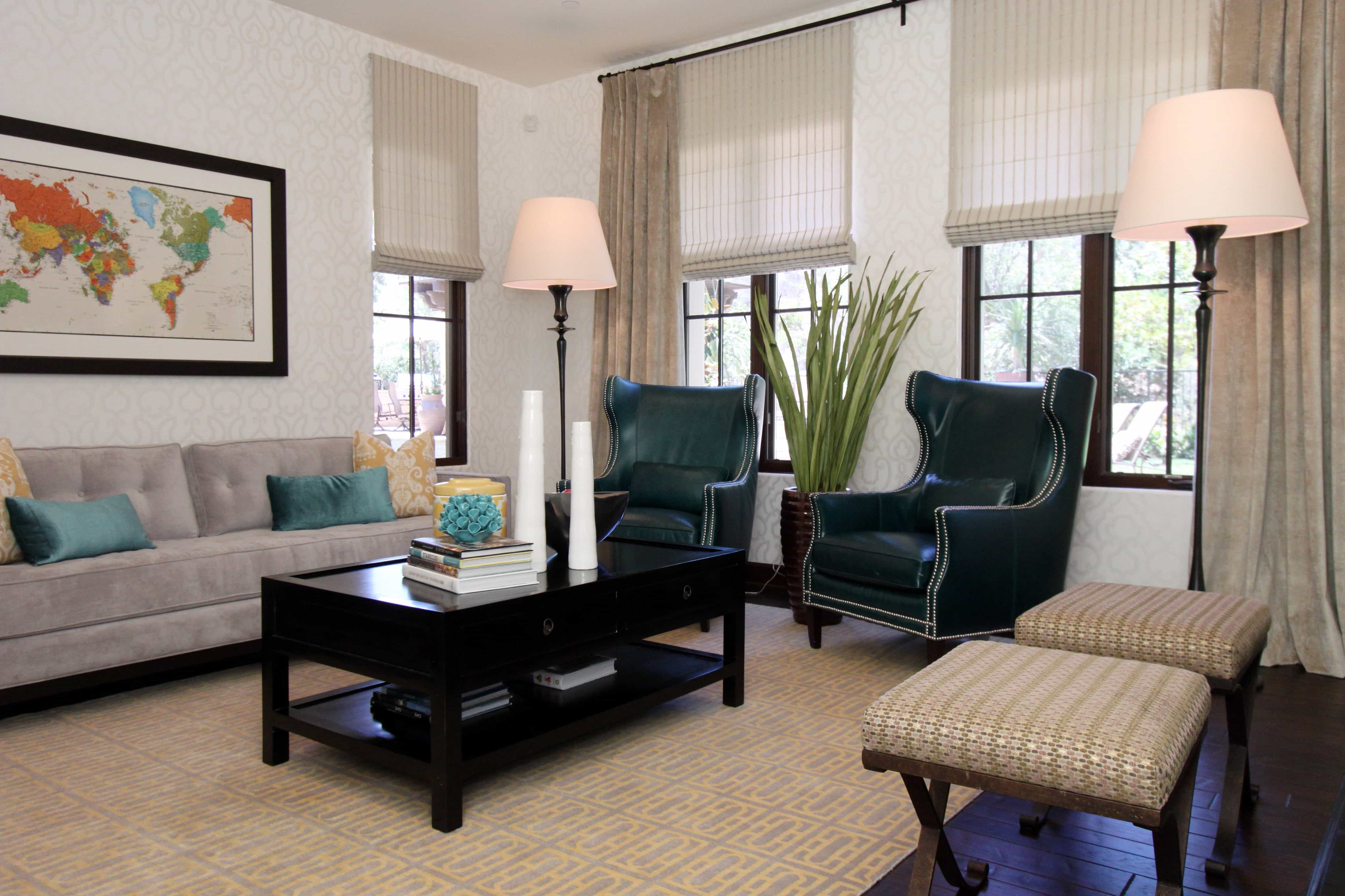 Classic Leather Wingback Chairs And Neutral Carpet Flooring For Classic Modern Living Room Decor (Photo 8 of 13)
